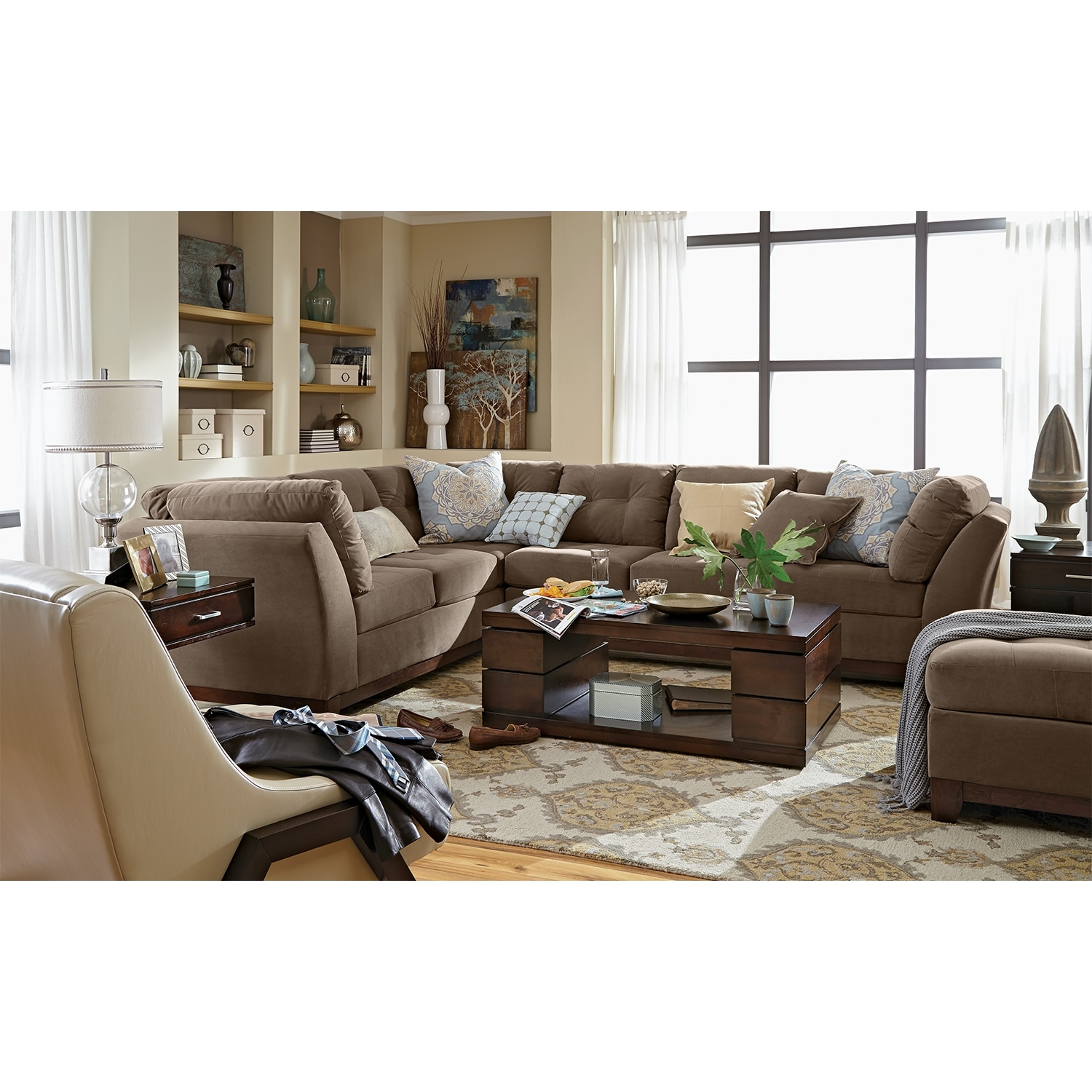 Solace Cocoa Ii Upholstery 2 Pc Sectional And Ottoman Value City Furniture