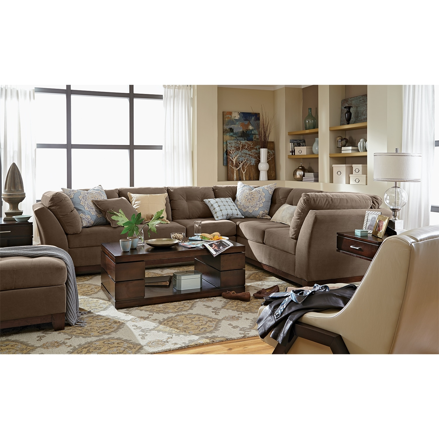 Solace Cocoa Ii Upholstery 2 Pc Sectional Reverse And Ottoman Value City Furniture