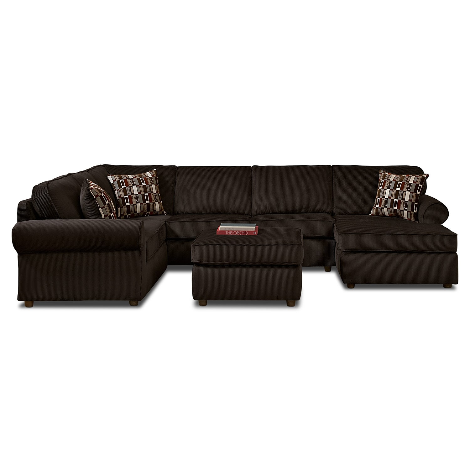 [Monarch 3 Pc. Sectional and Cocktail Ottoman]