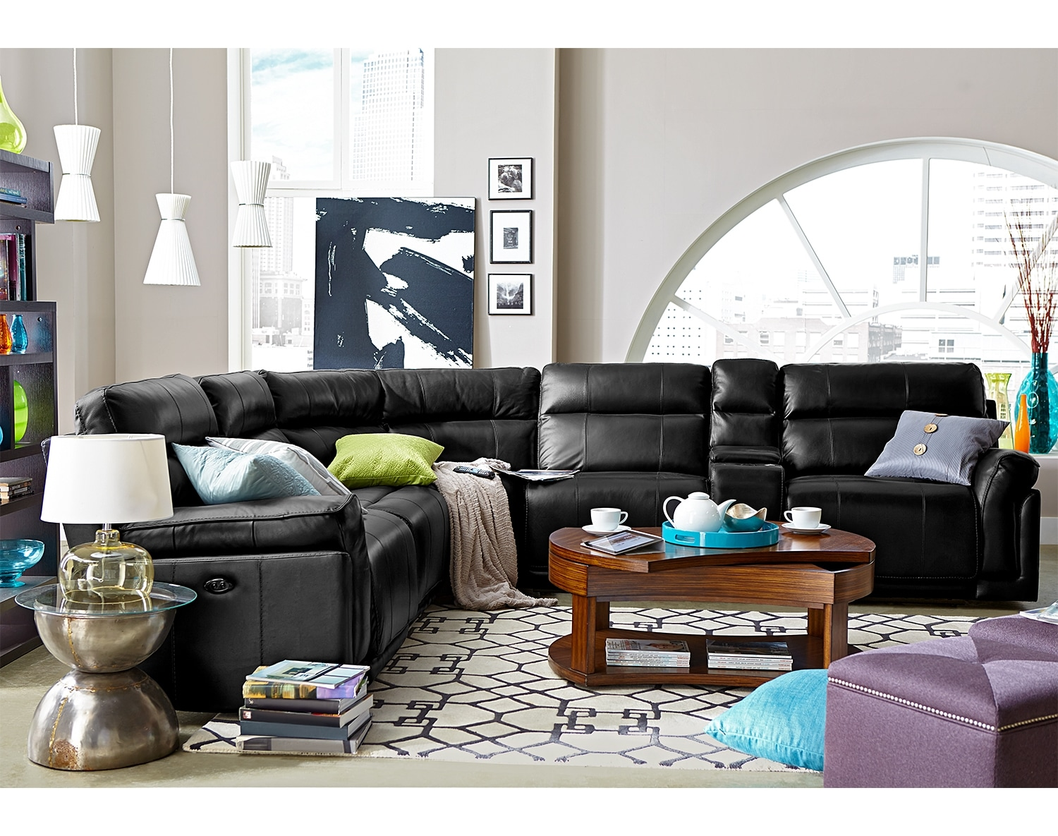 Living Room Furniture - The Antonio Black Collection - 4 Pc. Power Reclining Sectional with Music Console