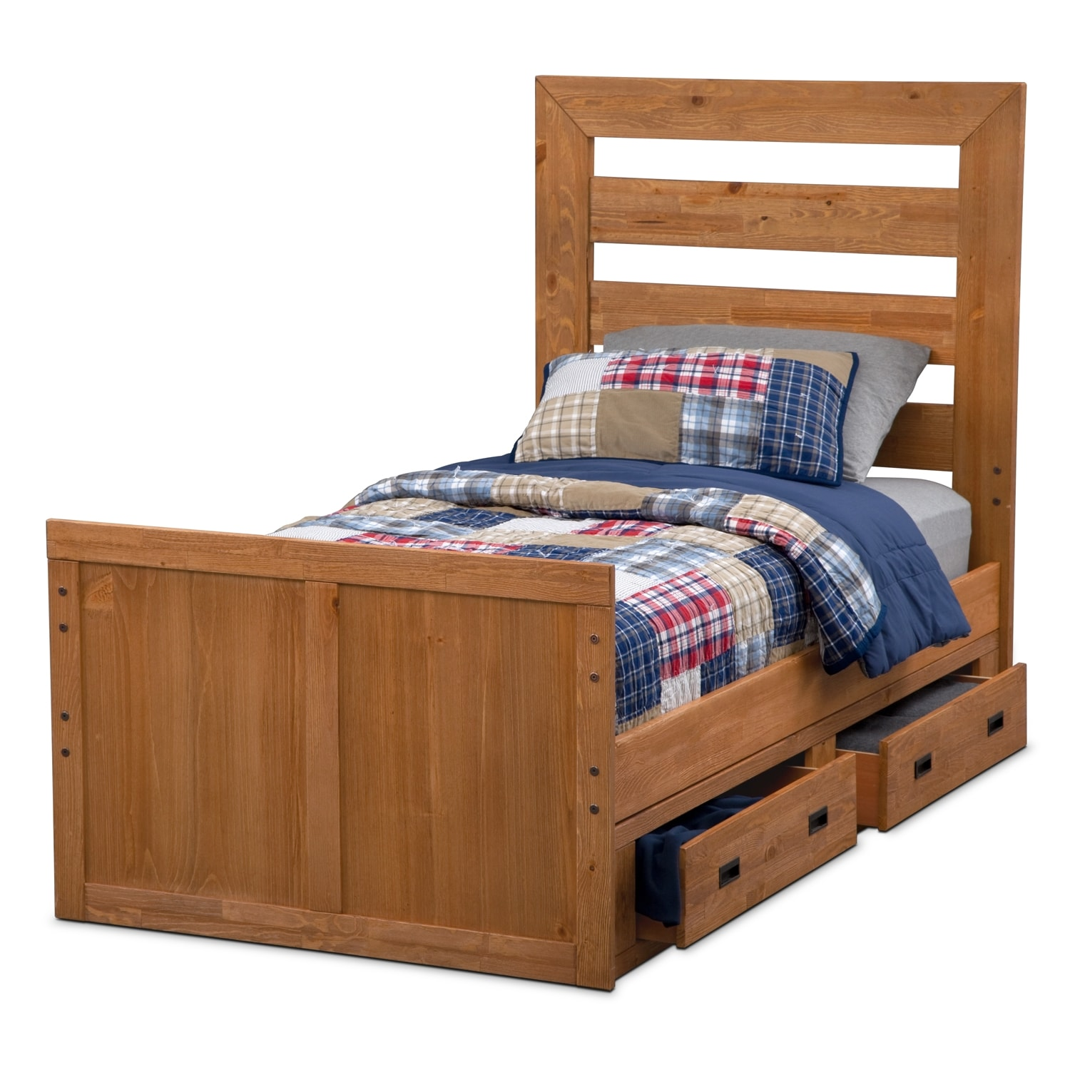 Alpine panel kids furniture twin bed w 2 drawer storage value city furniture - Kids twin beds with storage drawers ...