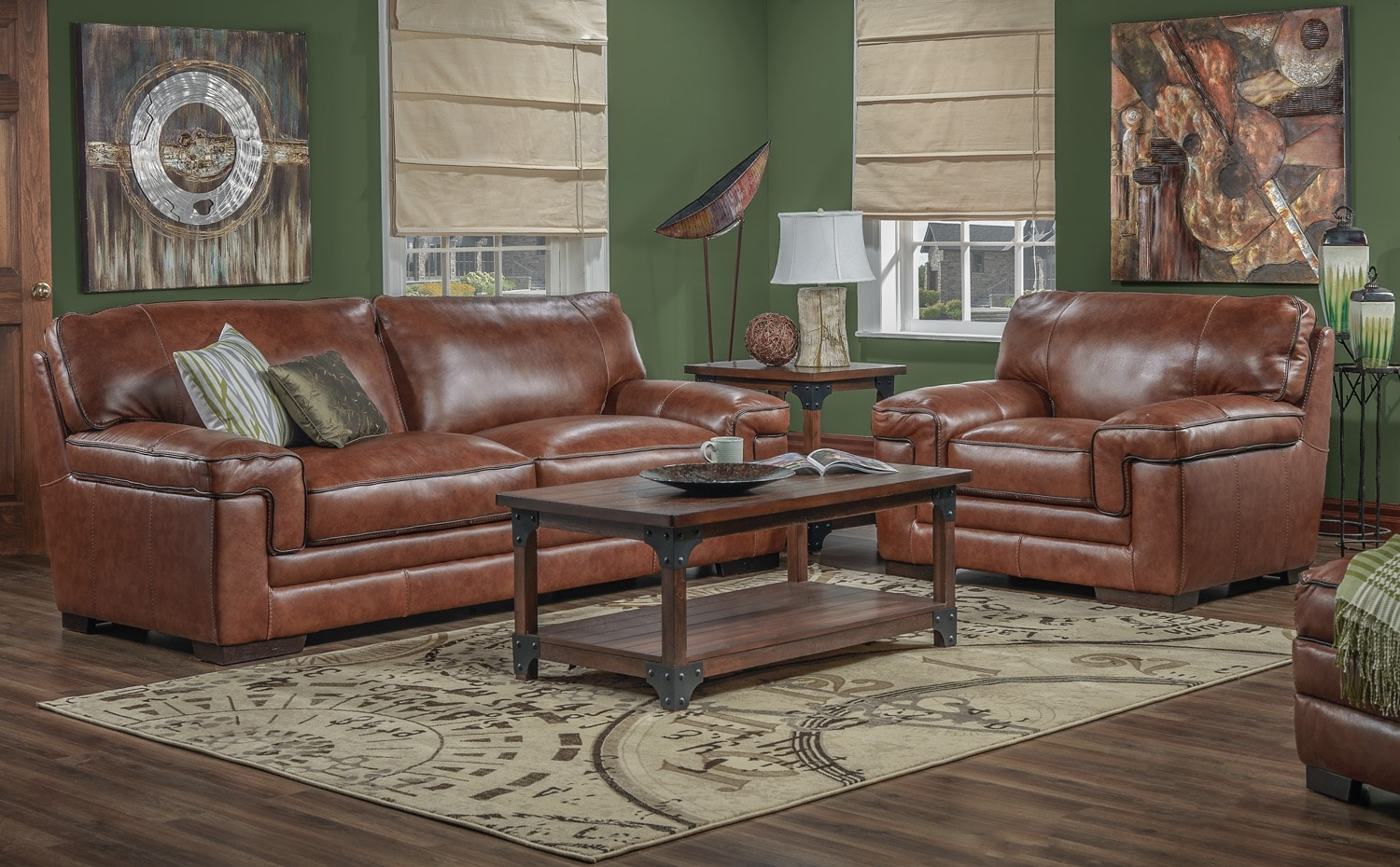 Stampede Sofa and Chair Set - Brown