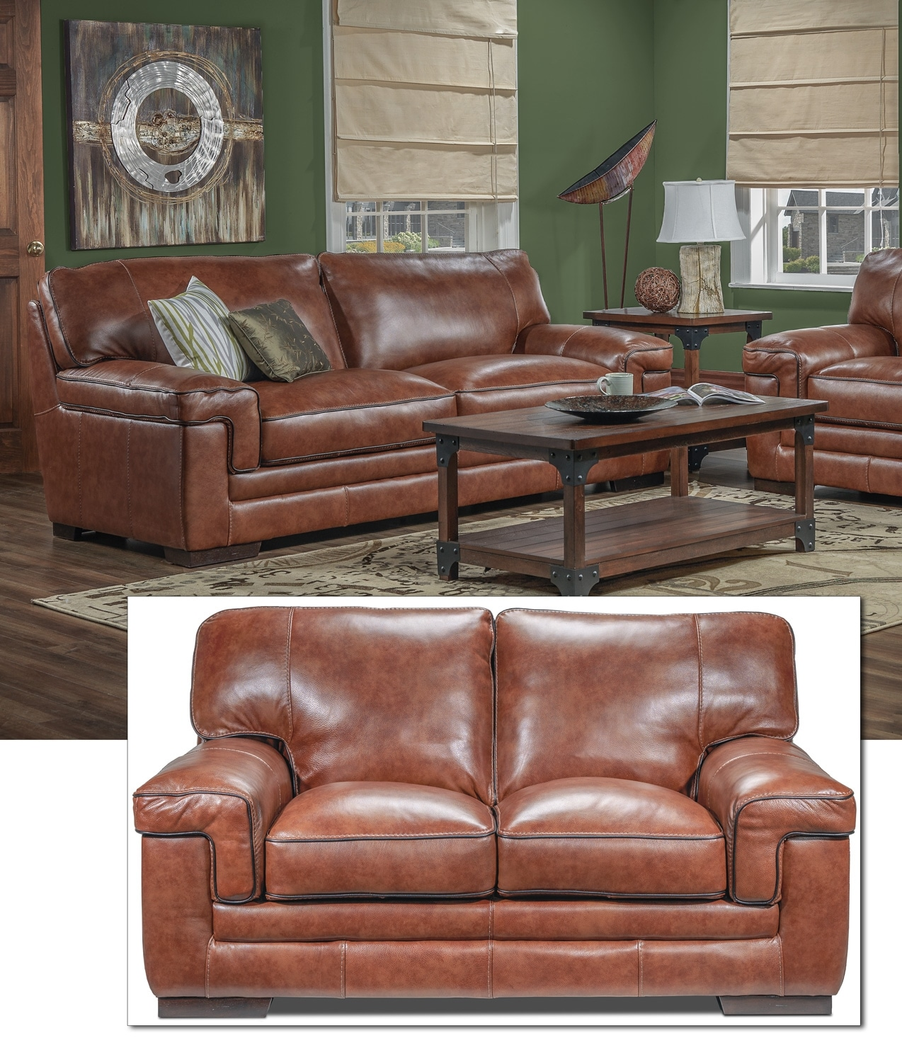 Stampede Sofa and Loveseat Set - Brown