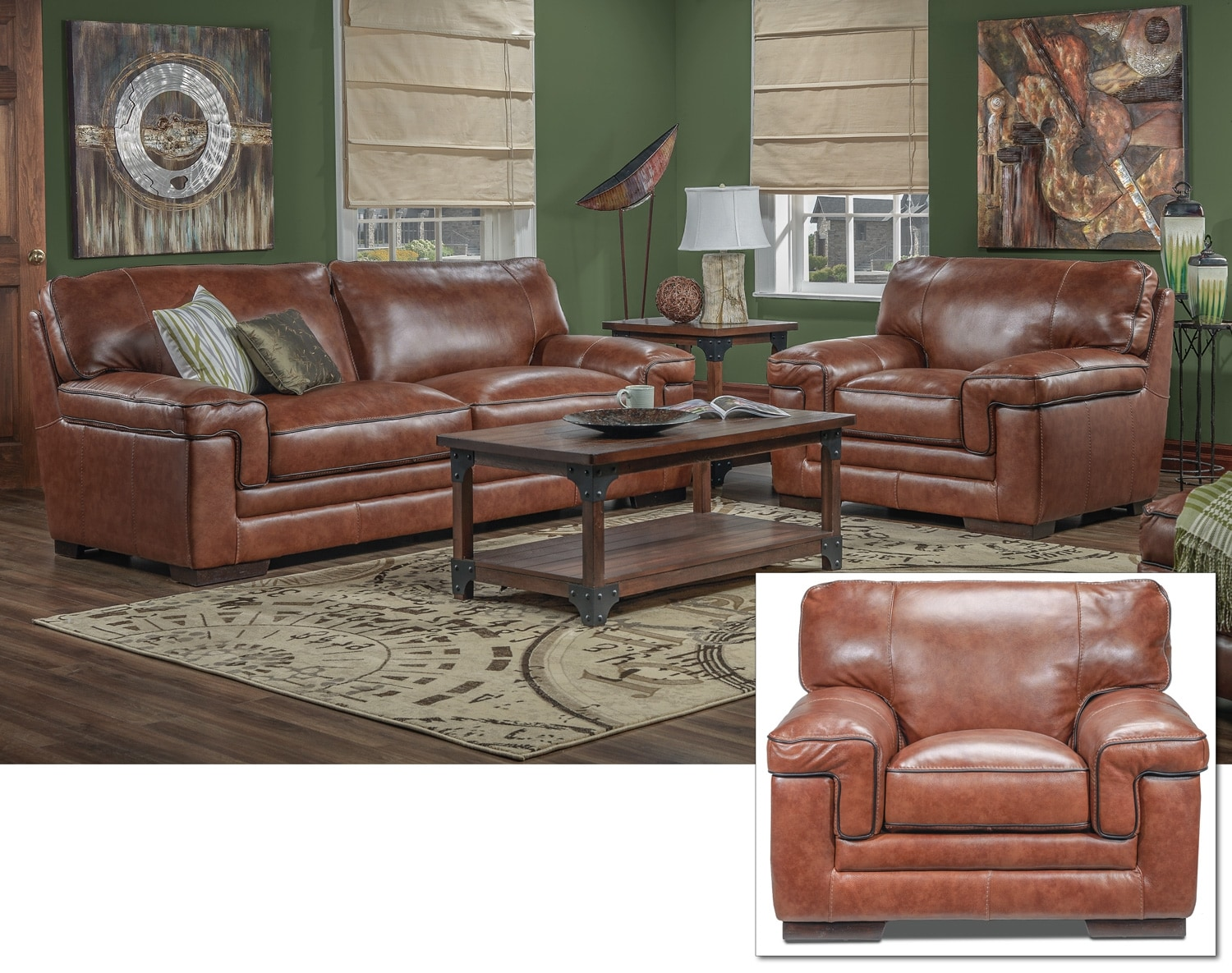 Stampede Sofa, Loveseat and Chair Set - Brown