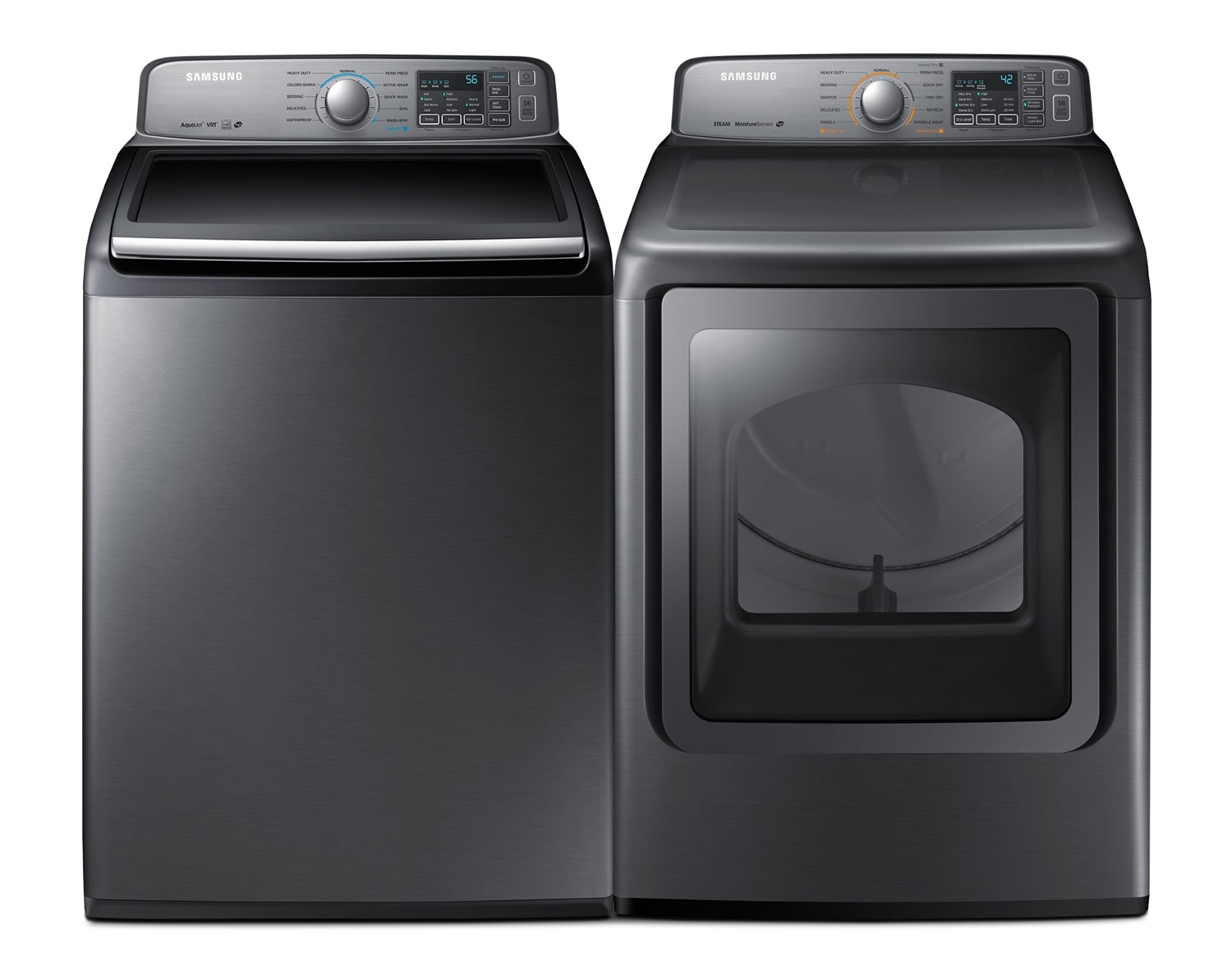 [Samsung Stainless Platinum Top-Load Laundry Pair]