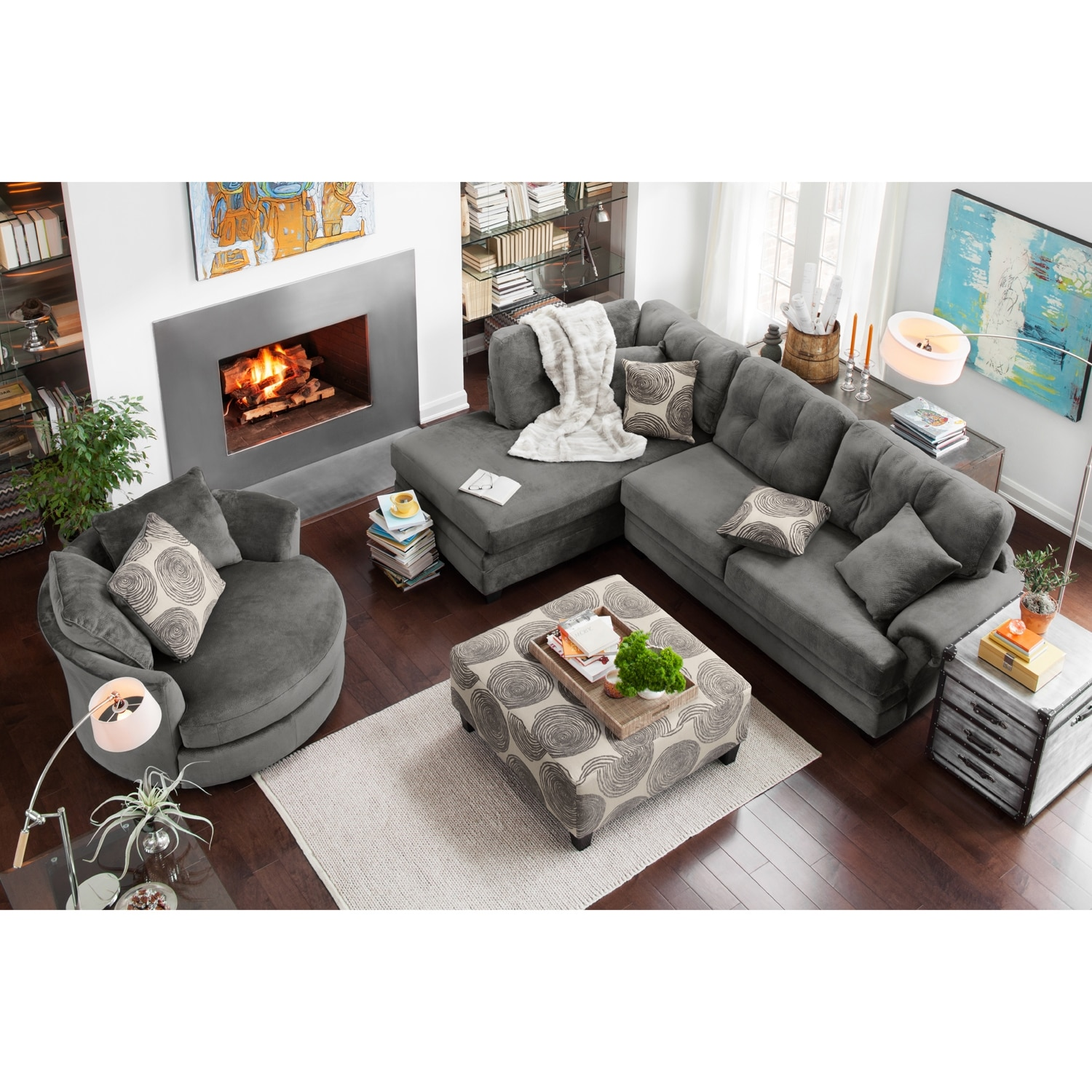 Cordelle 2 piece left facing chaise sectional gray for Living room ideas 2 couches