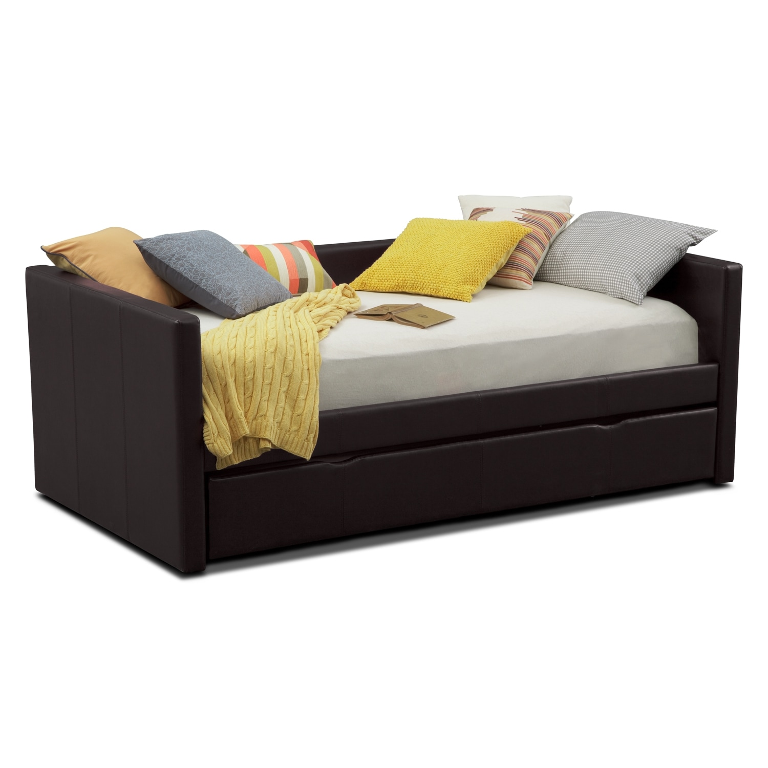 Carey twin daybed with trundle brown value city furniture for Beds with trundle