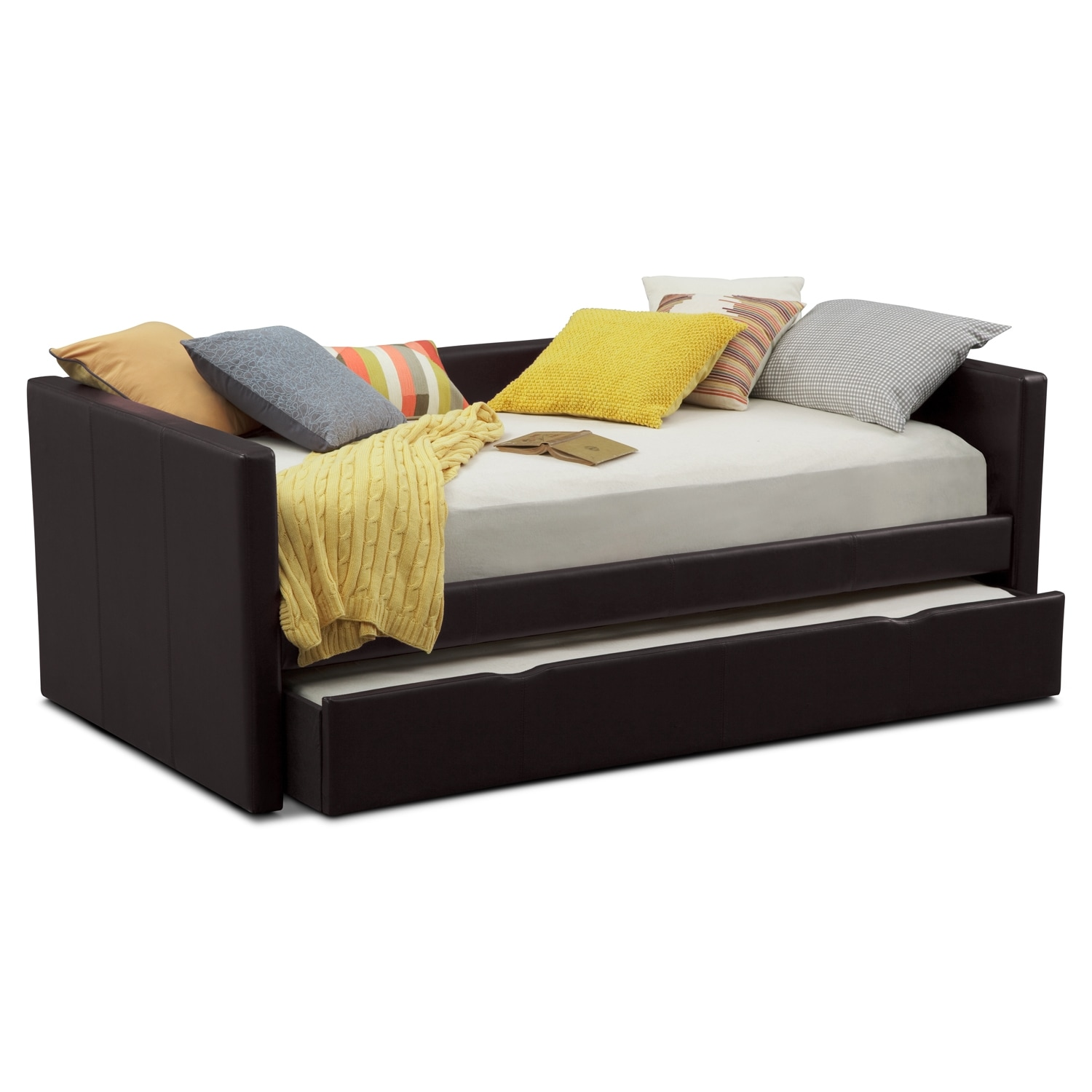Carey full daybed with trundle brown value city furniture Best trundle bed