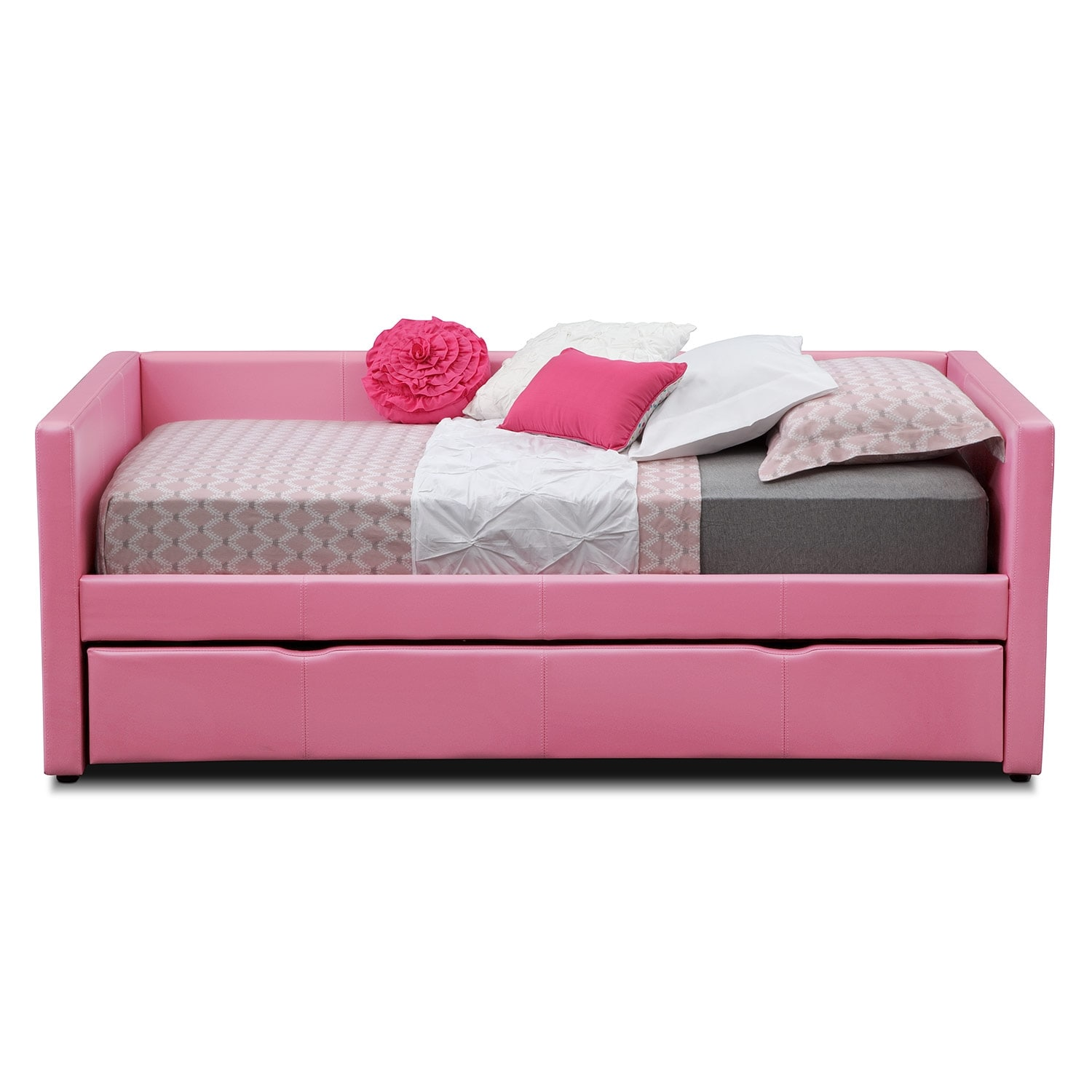 Beds Beds Beds Mattress Factory Outlet Carey Pink Full Daybed with Trundle | Value City Furniture