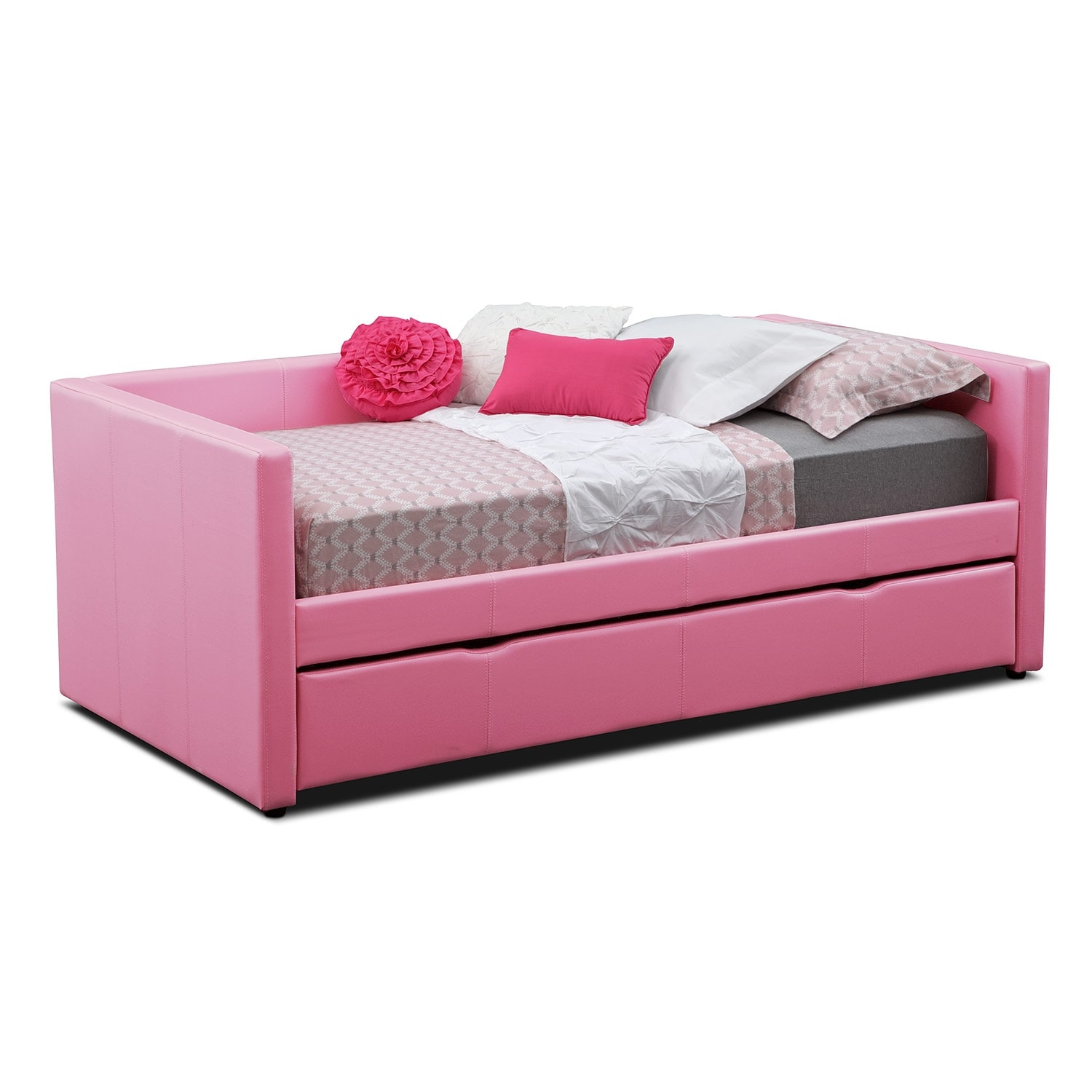 Carey Pink Twin Daybed with Trundle : Value City Furniture