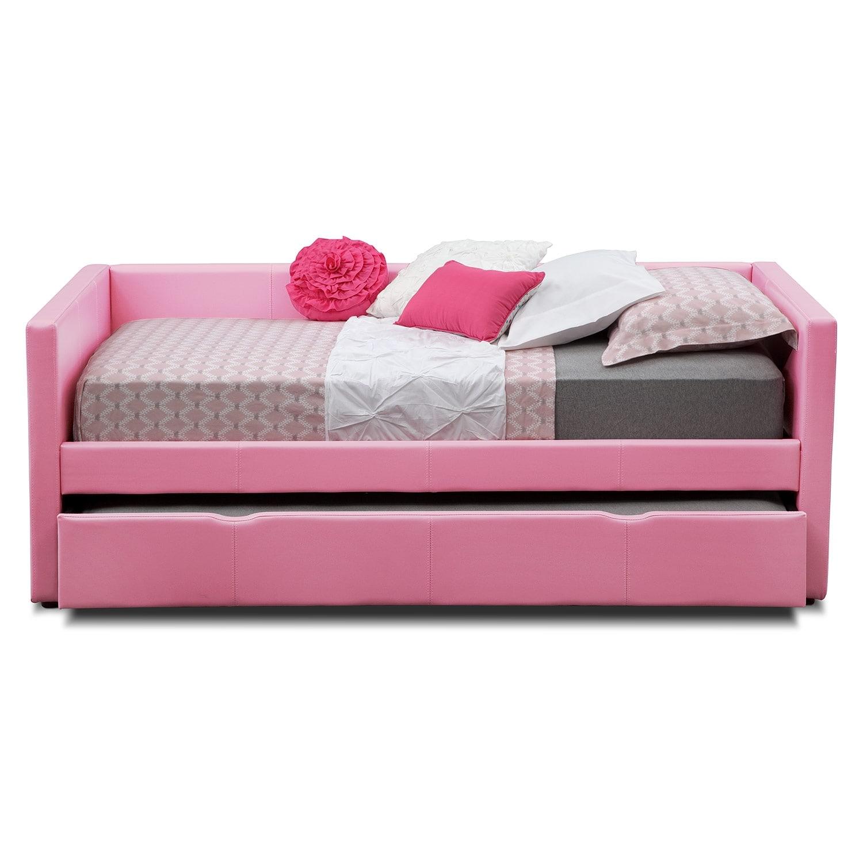 carey pink full daybed with trundle value city furniture. Black Bedroom Furniture Sets. Home Design Ideas