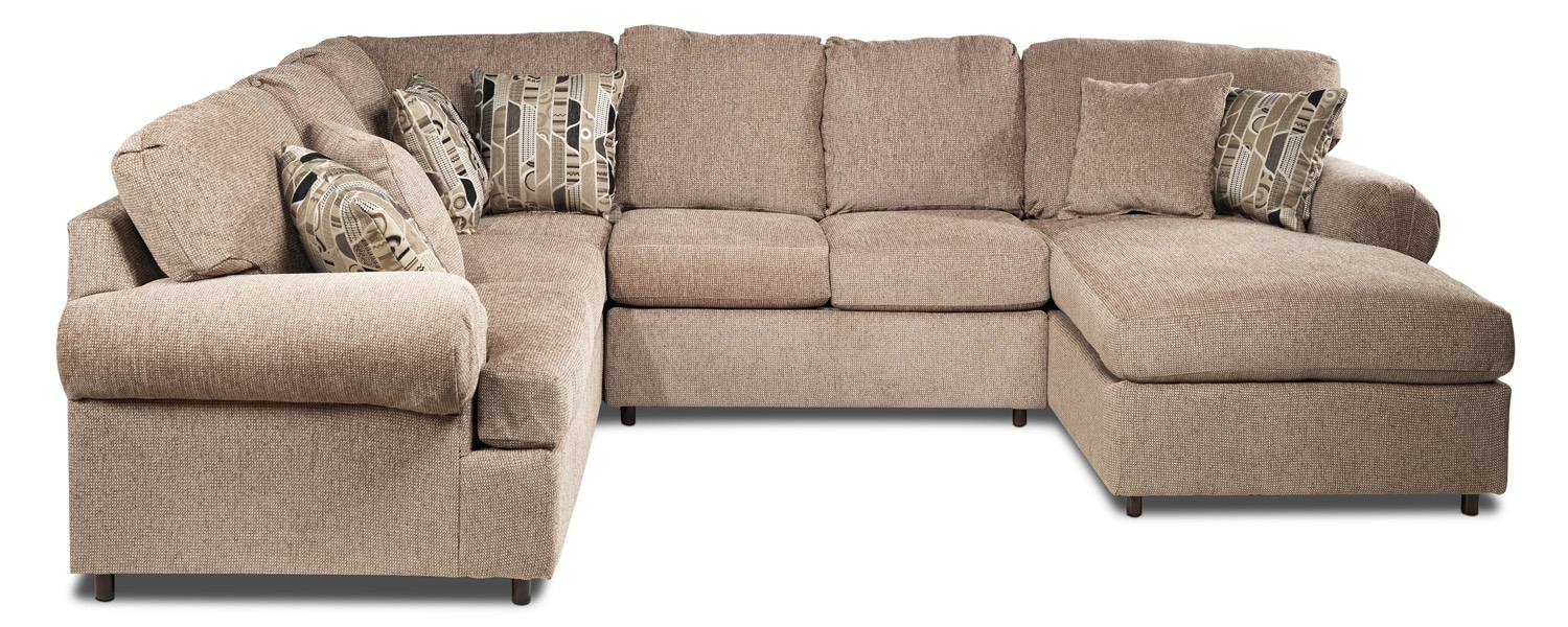 Living Room Furniture - Trudy 4 Pc. Sectional (Reverse) - Light Brown