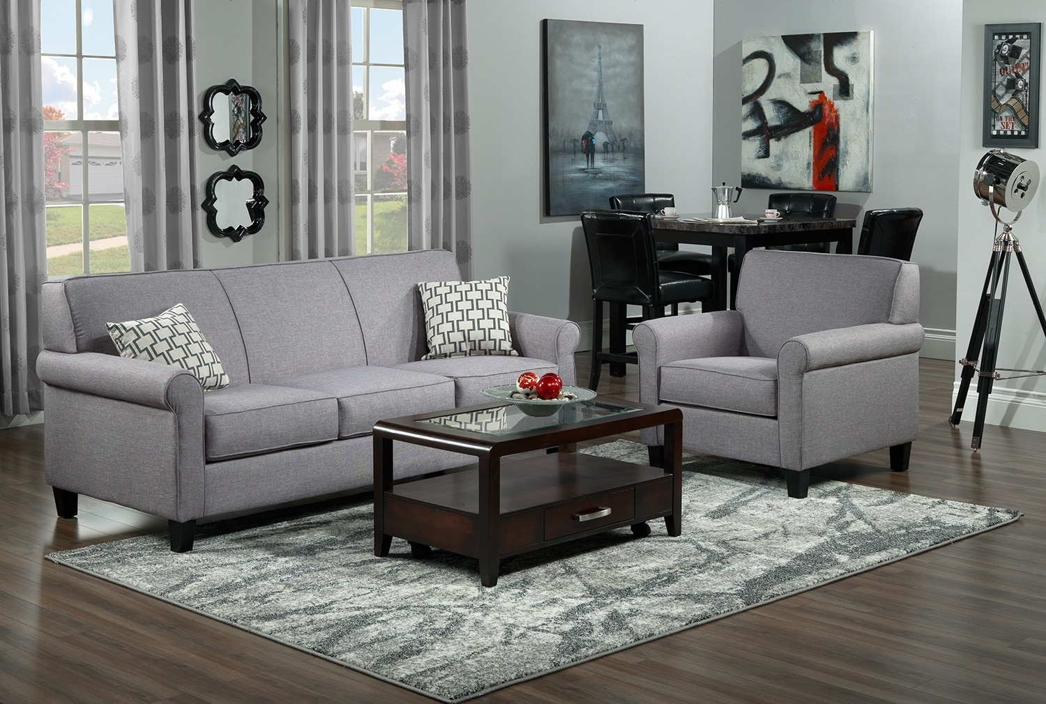 Ariel Sofa and Chair Set - Silver-Grey