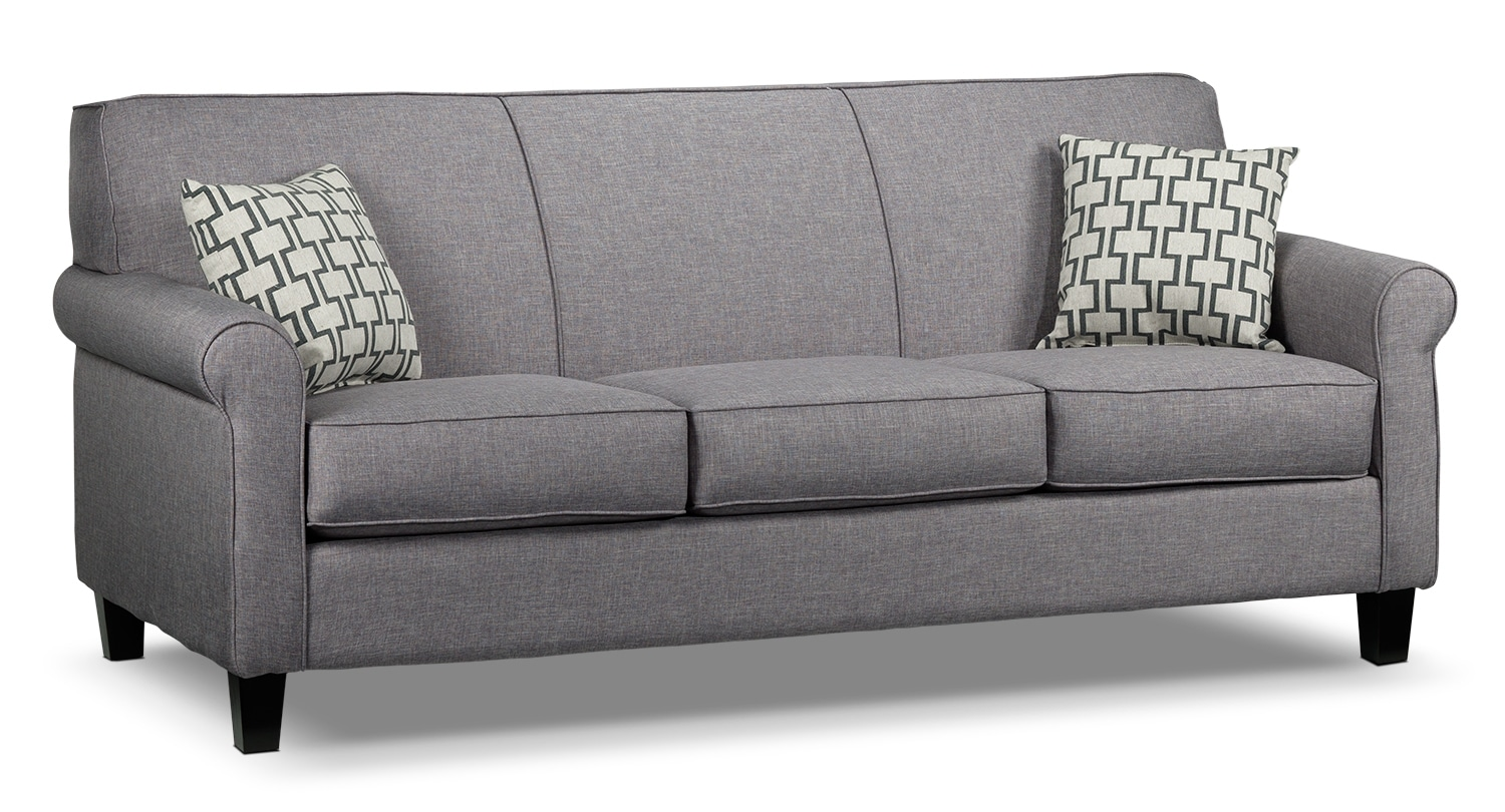 Living Room Furniture - Ariel Sofa - Silver-Grey