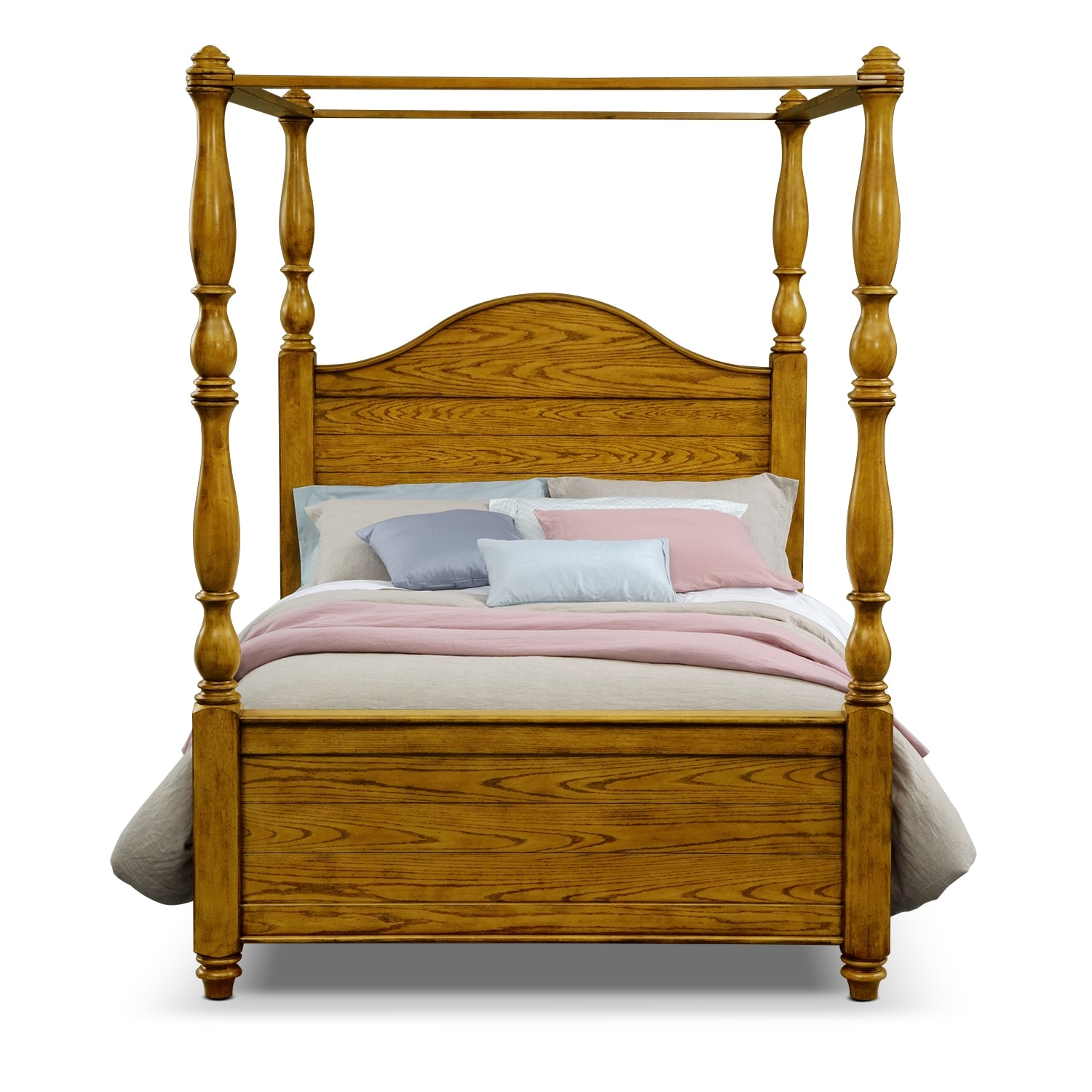 carlyle oak canopy bedroom queen bed value city furniture