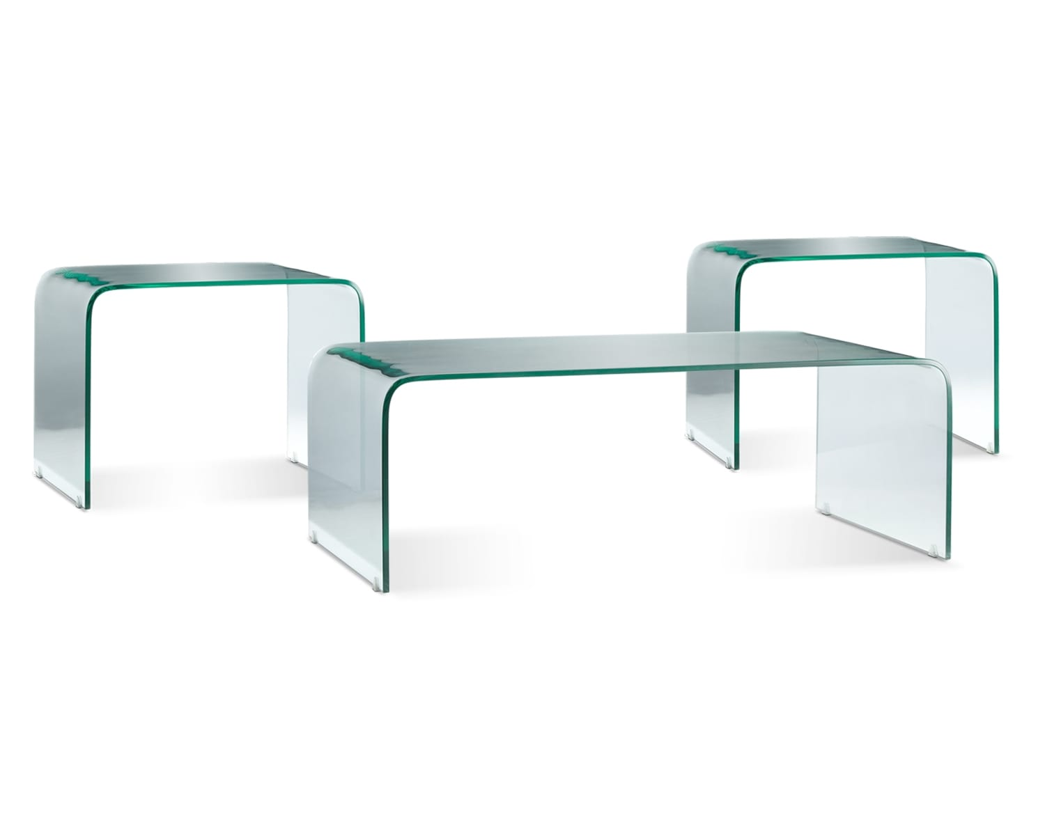 Flow Coffee Table and Two End Tables - Clear