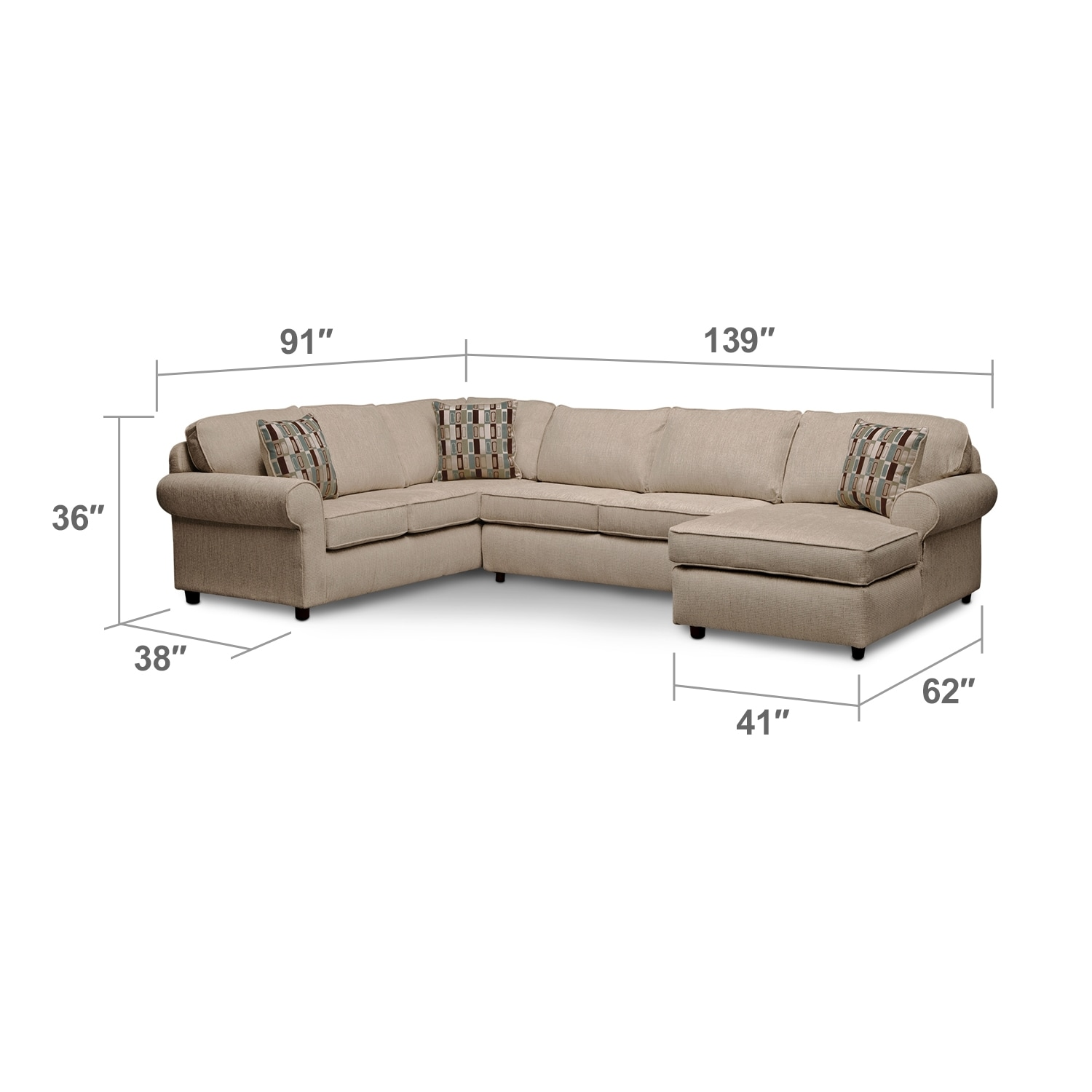 Living Room Furniture - Salina Taupe 3 Pc. Sectional