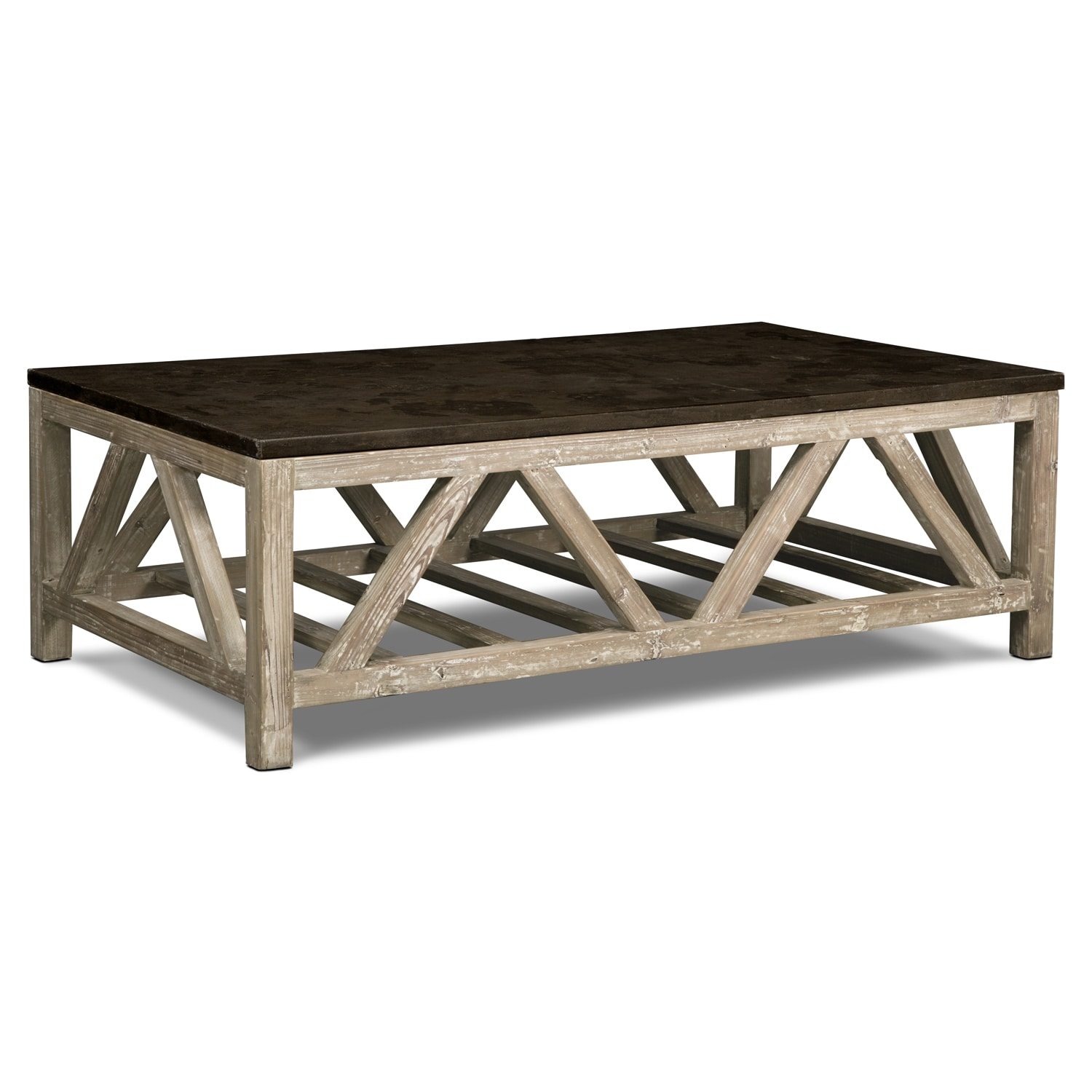 Grandin cocktail table brown value city furniture for Living coffee table
