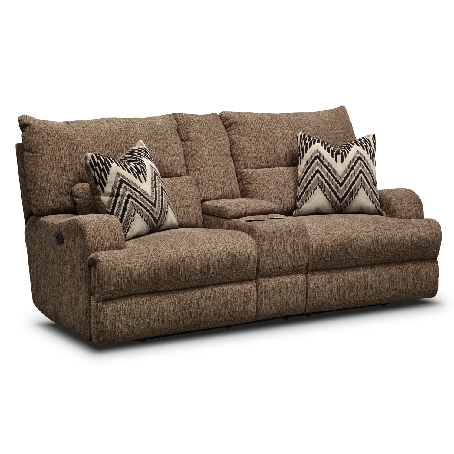 Blue La-Z-Time Manual Reclining Loveseat with Middle Console