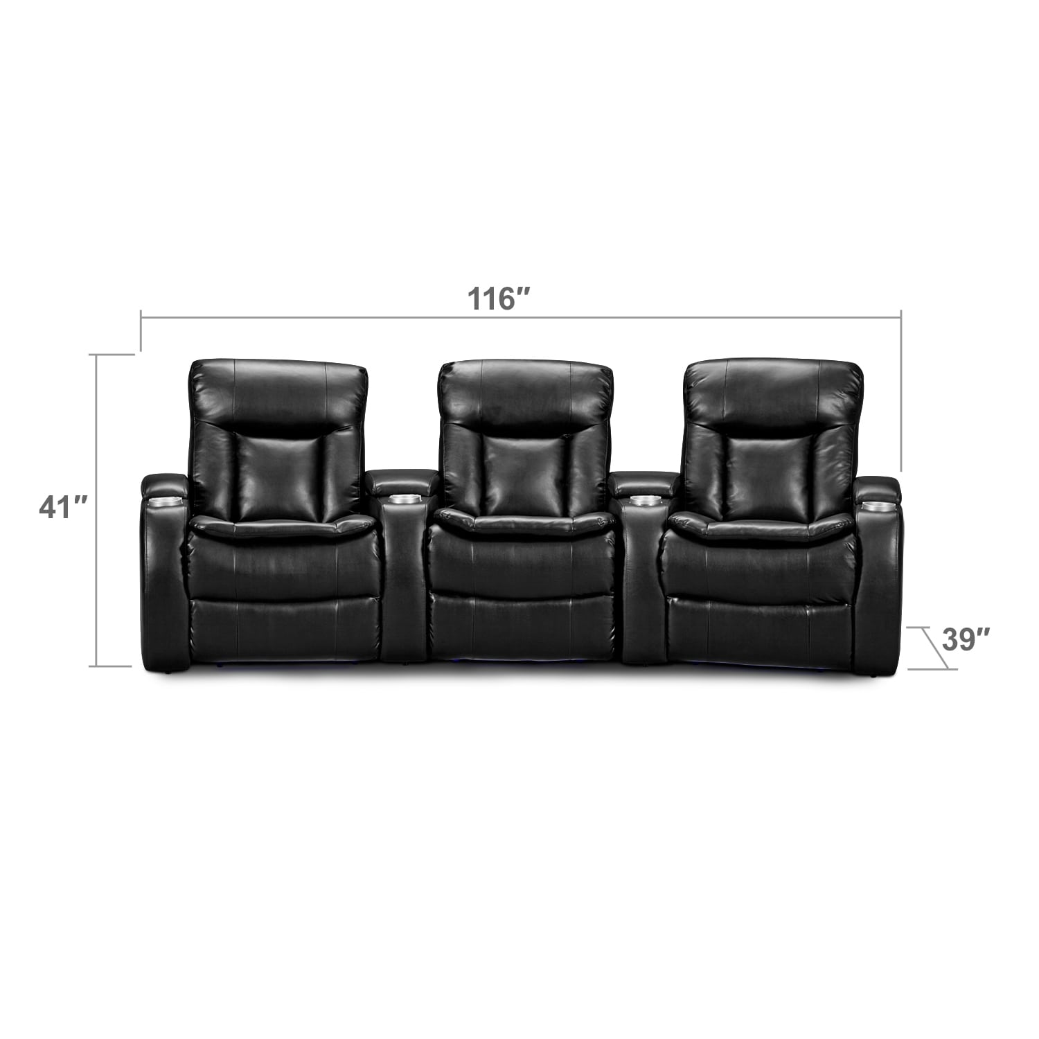 Living Room Furniture - Larson 3 Pc. Power Reclining Home Theater Sectional