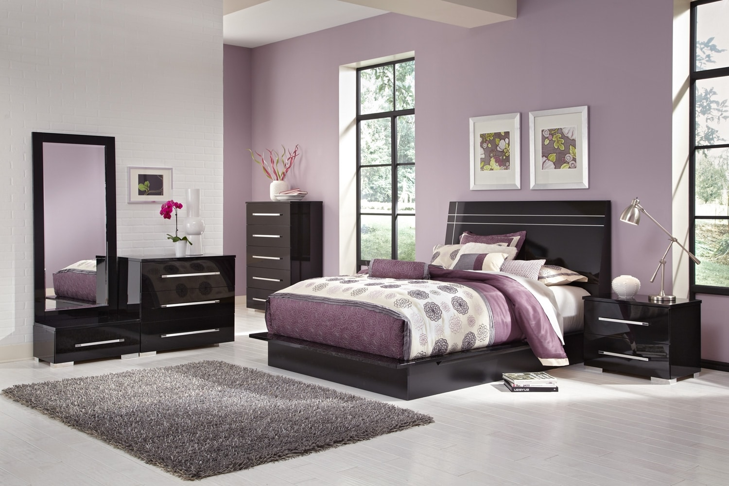 Dimora 7 Piece Queen Panel Bedroom Set Black American Signature Furniture