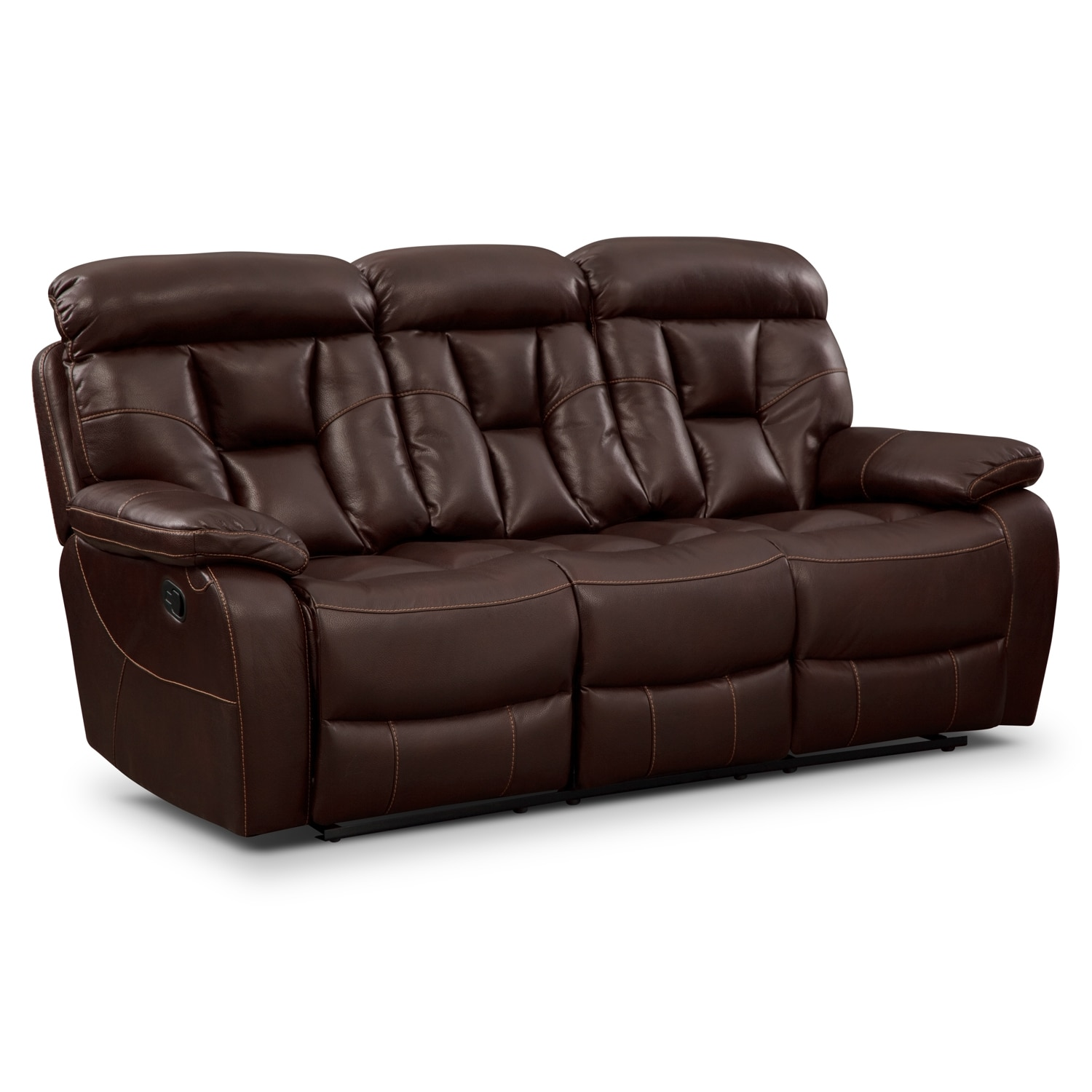 Dakota reclining sofa java american signature furniture for Leather reclining sofa