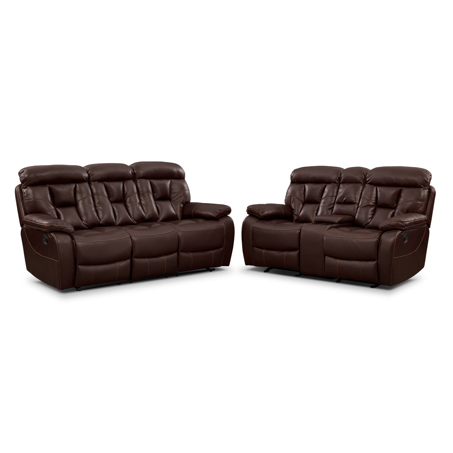 Dakota Reclining Sofa And Gliding Loveseat Set Java Value City Furniture