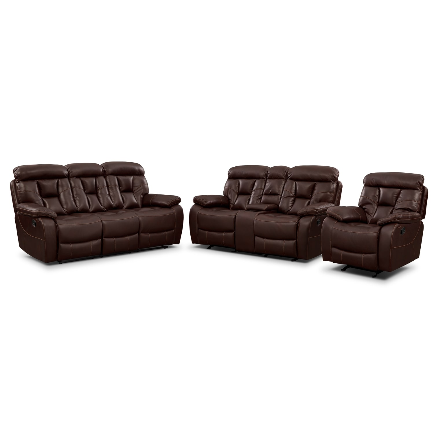 Dakota Reclining Sofa Glider Loveseat And Glider Recliner Set Java Value City Furniture