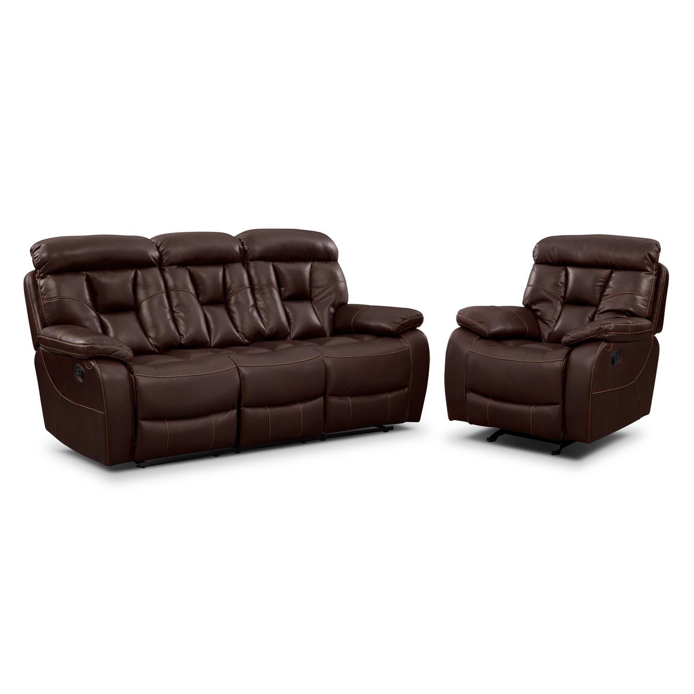 Dakota Reclining Sofa And Glider Recliner Set Java Value City Furniture