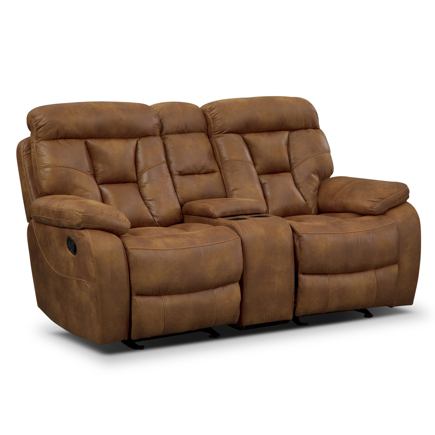 Dakota Gliding Reclining Loveseat With Console Almond Value City Furniture