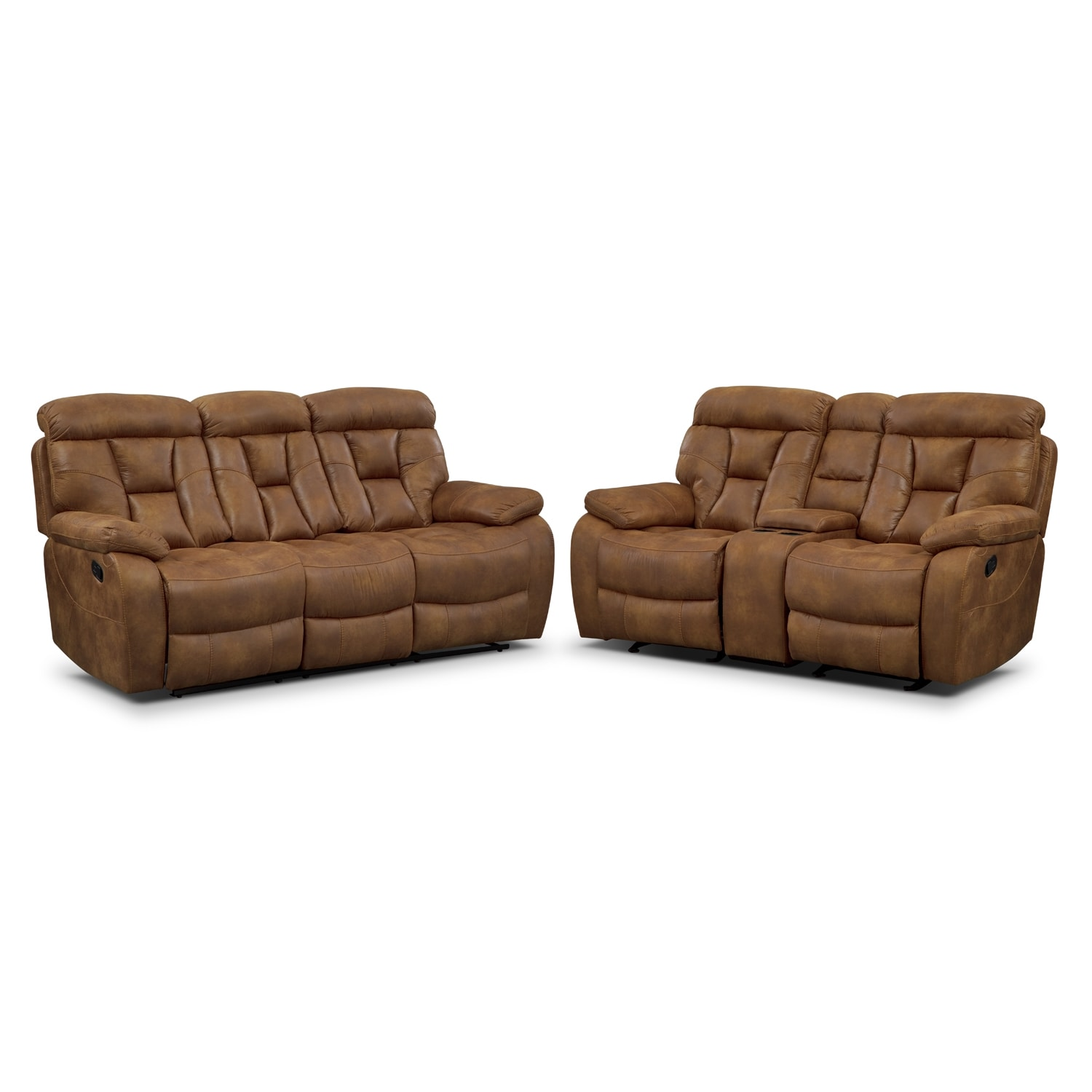 Dakota Reclining Sofa And Glider Loveseat Set Almond