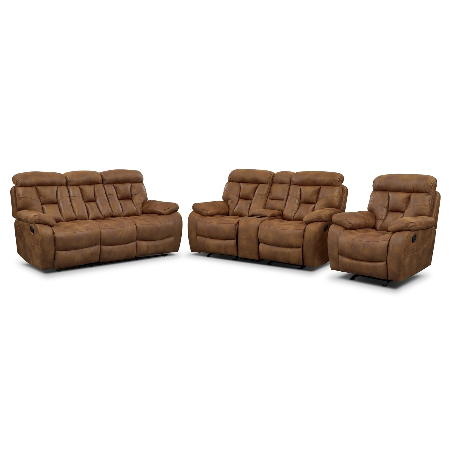 Dakota Reclining Sofa Gliding Loveseat And Glider Recliner Set Almond Value City Furniture