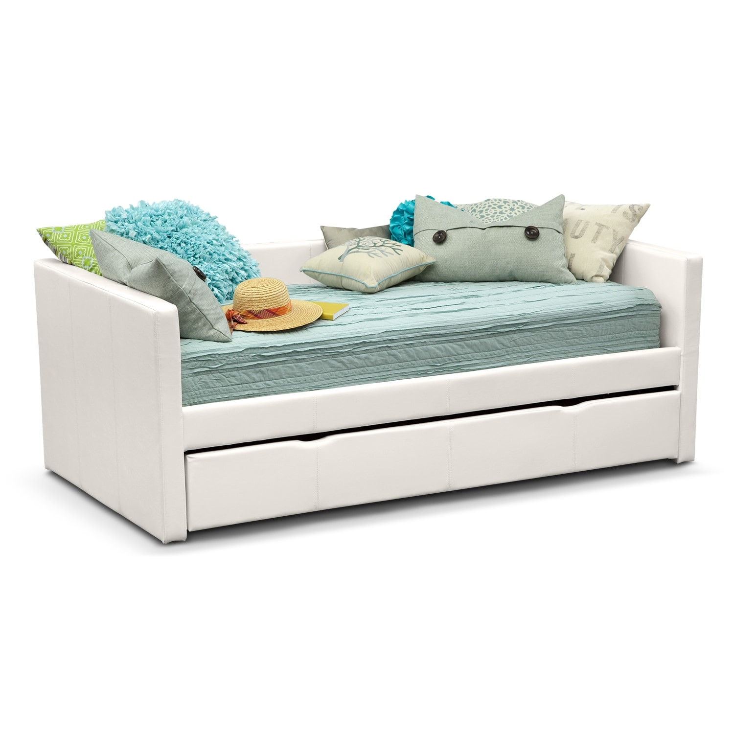 Carey white twin daybed with trundle value city furniture for Beds with trundle