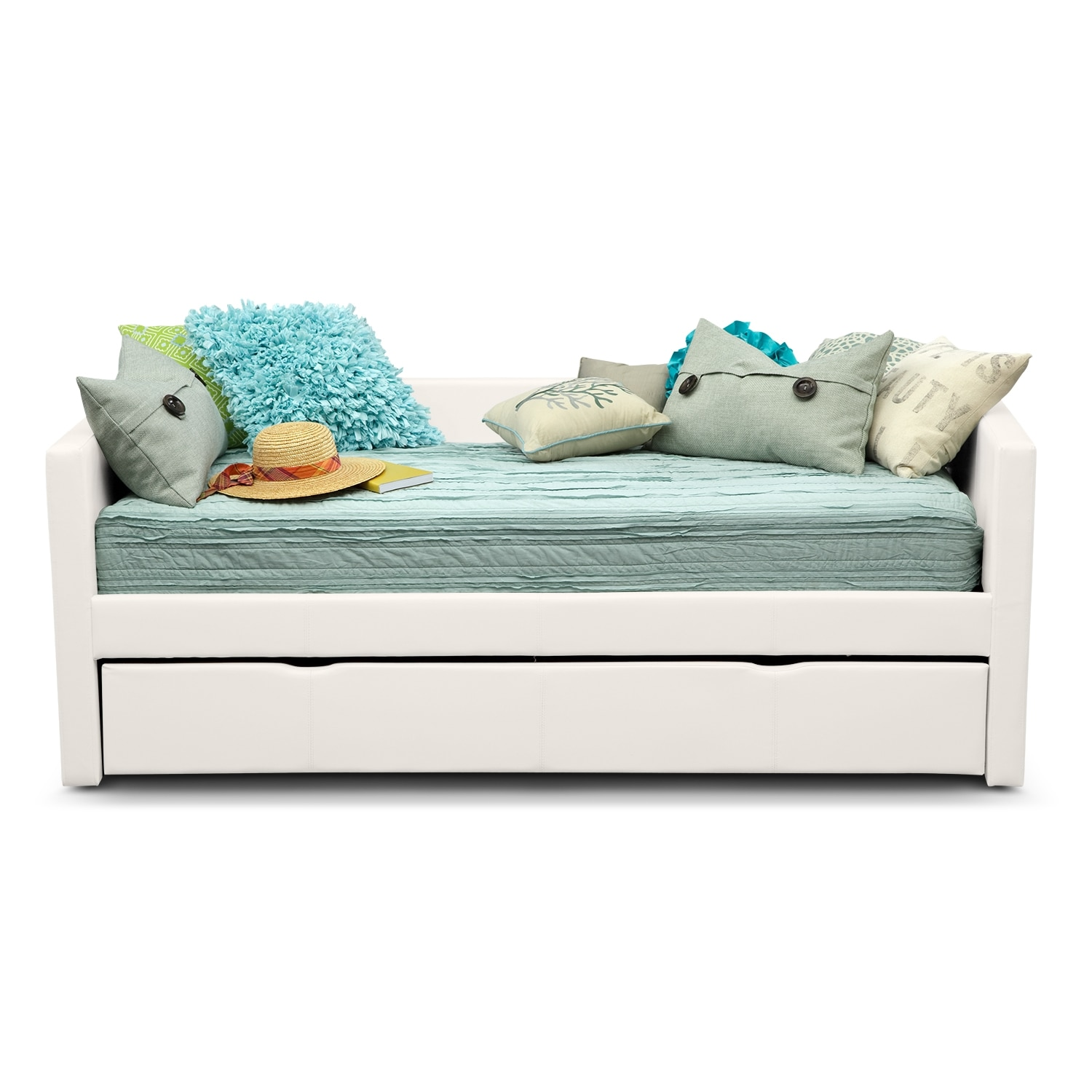 Carey twin daybed with trundle white american for Bedroom sets with mattress included
