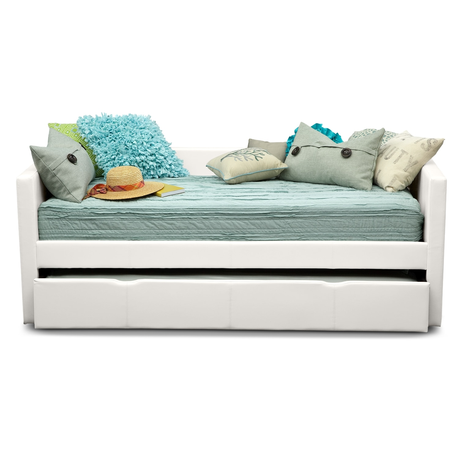 Carey white full daybed with trundle value city furniture for Daybed with trundle