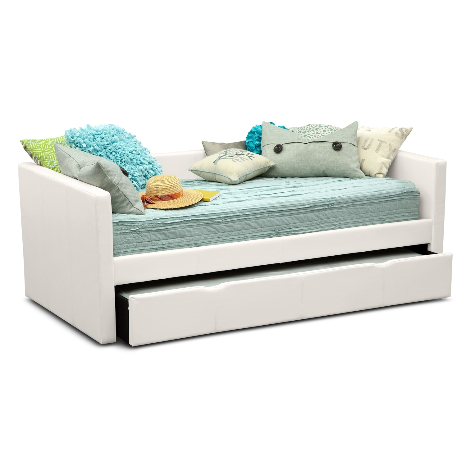 Carey twin daybed with trundle white american Twin bed with mattress included