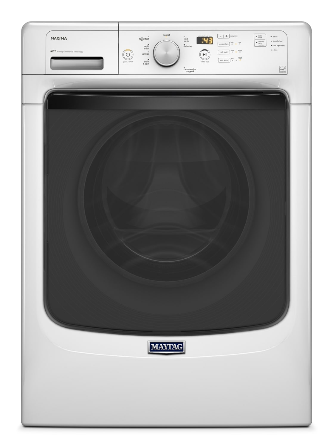 Washers and Dryers - Maytag White Front-Load Washer (4.8 Cu. Ft. IEC) - MHW3100DW