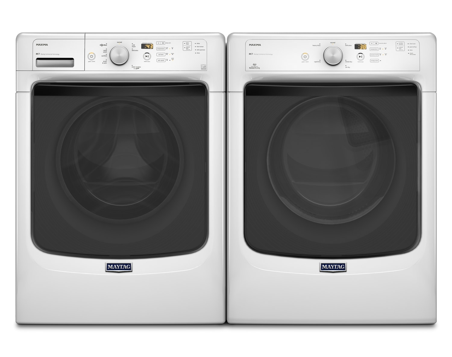 [Maytag Maxima White Front-Load Laundry Pair]