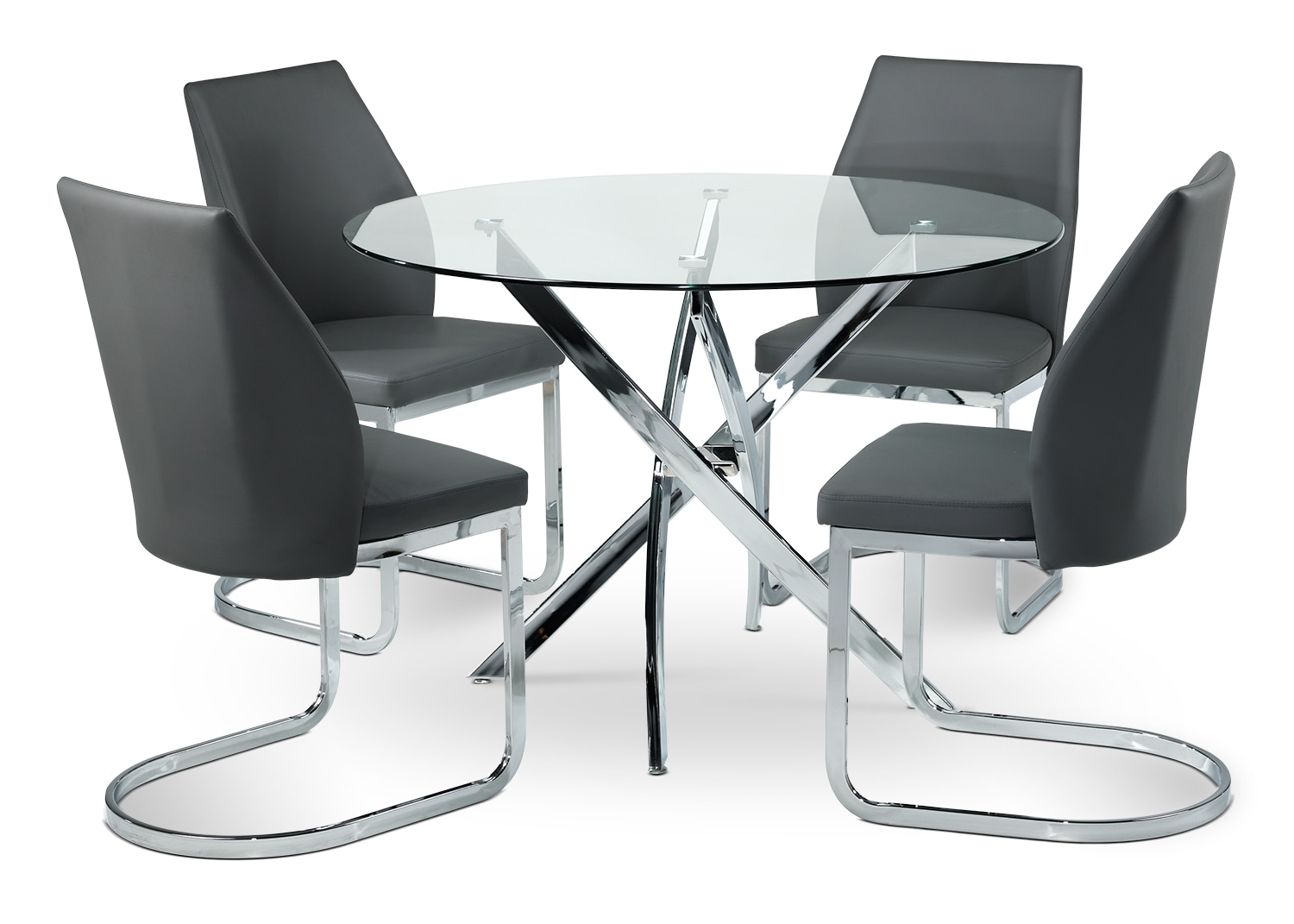 Casual Dining Room Furniture - Kate 5-Piece Dinette Set - Clear, Grey