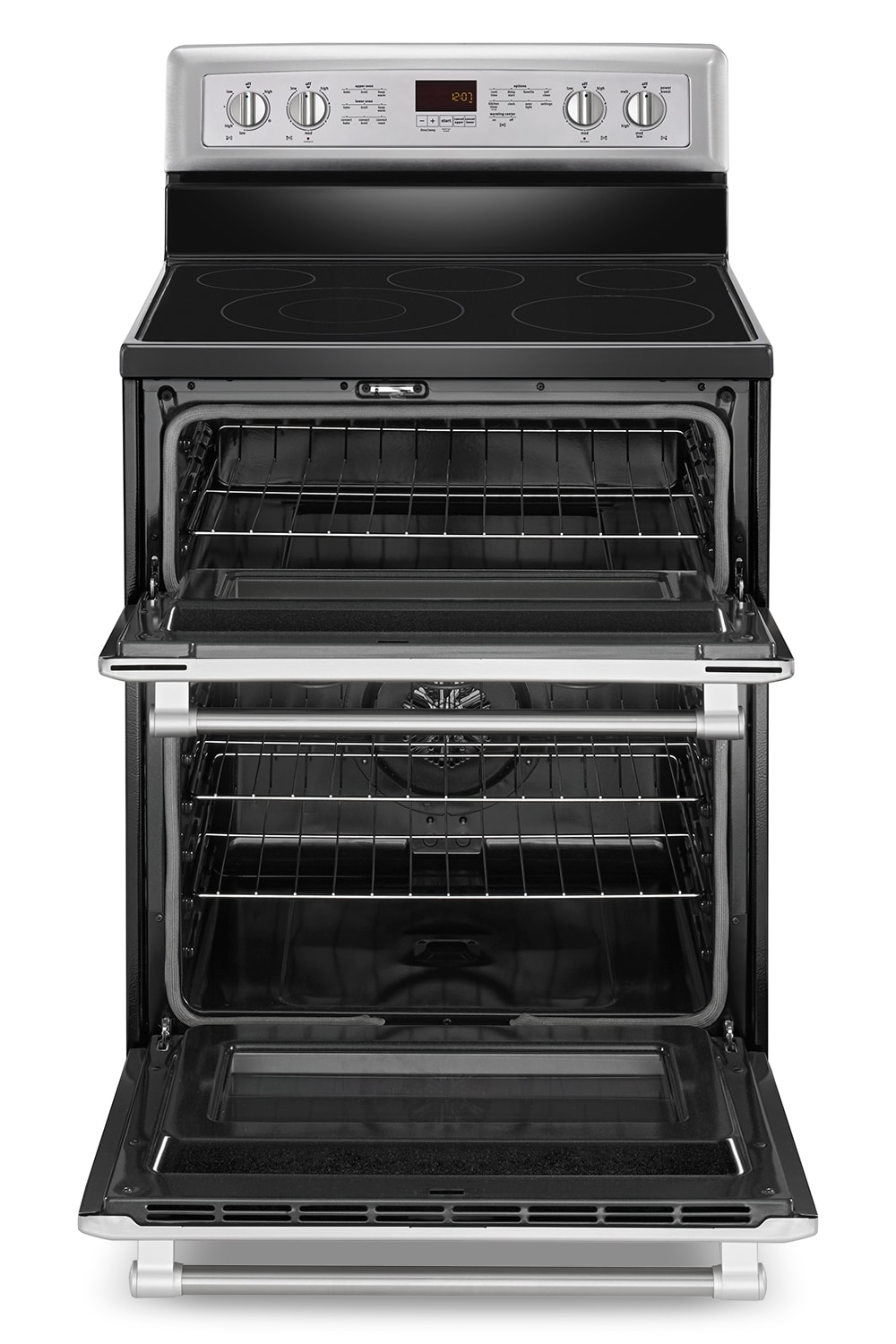 [Maytag Stainless Steel Freestanding Electric Double Oven Convection Range (6.7 Cu. Ft.) - YMET8720DS]