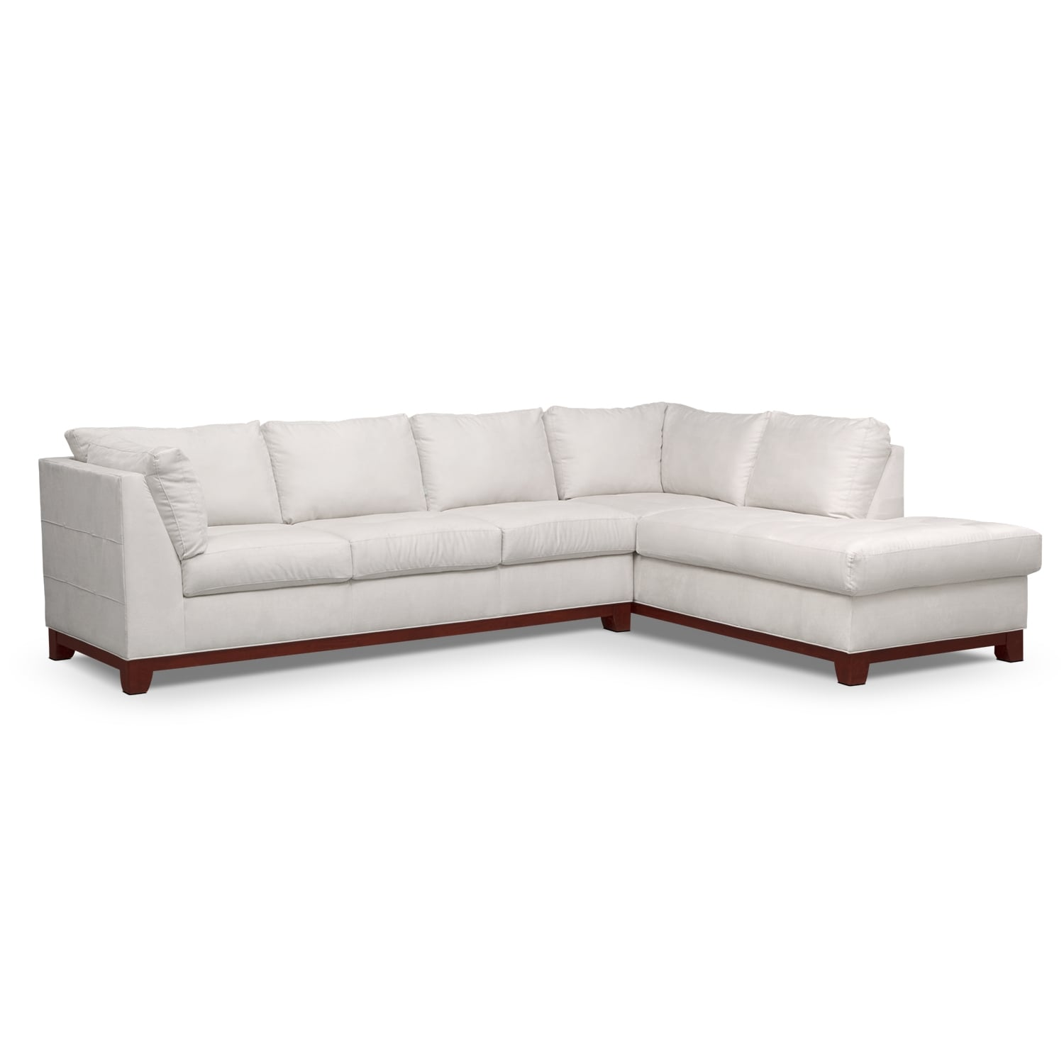Soho 2 piece sectional with right facing chaise cement for Couch with 2 chaises