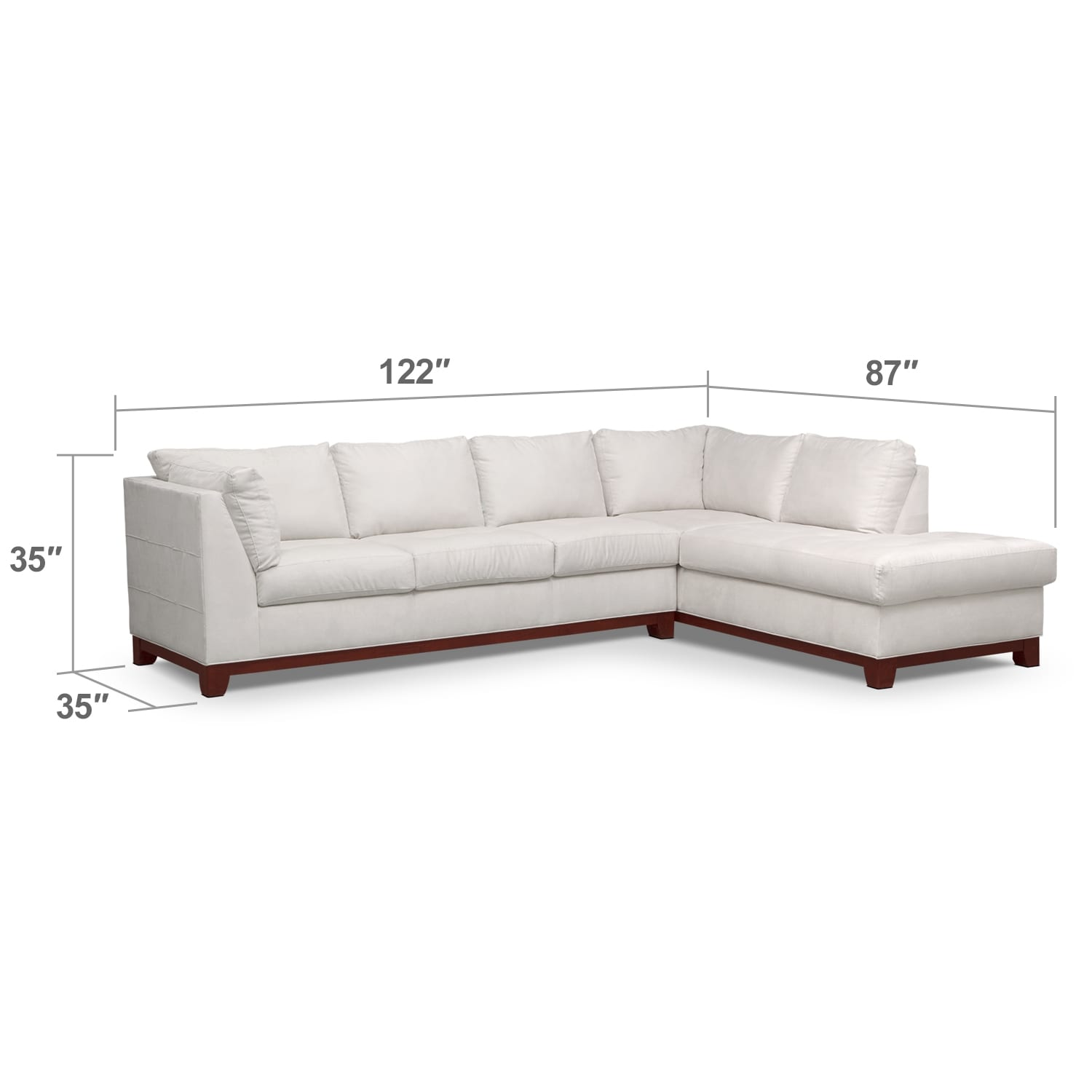 Soho 2 piece sectional with right facing chaise cement for American signature furniture commercial chaise