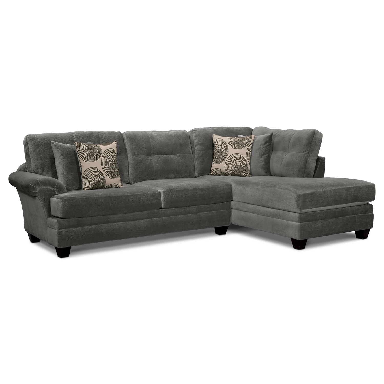 Cordelle 2 piece right facing chaise sectional gray for 2 piece sectional with chaise lounge