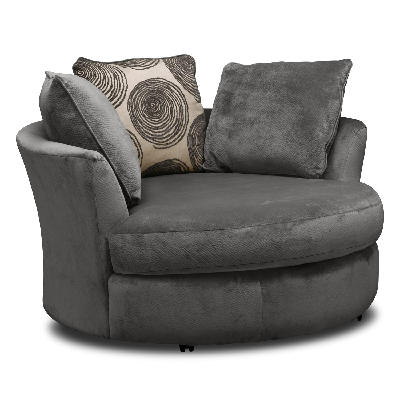 Living room furniture cordoba gray 3 pc living room w swivel chair