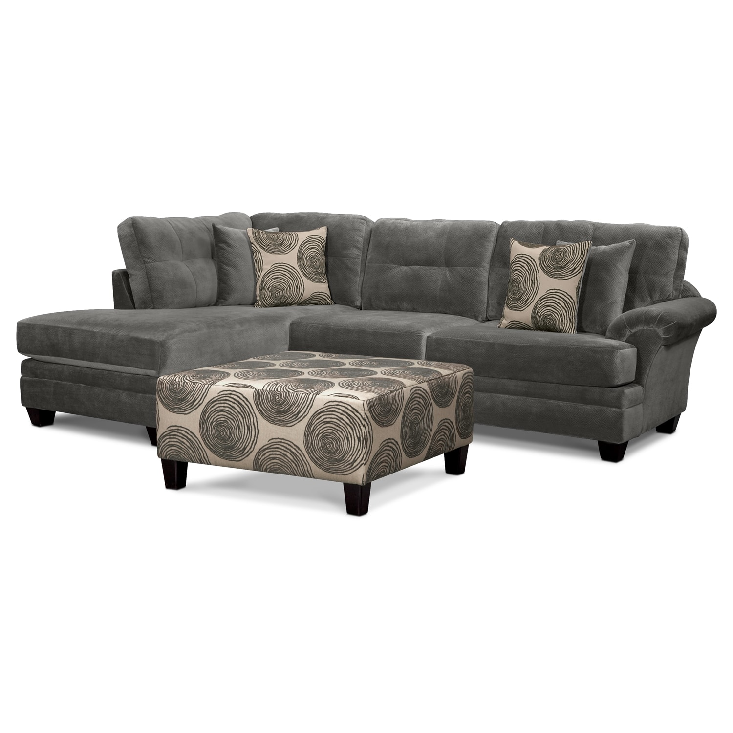 [Cordoba Gray 2-Piece Sectional and Cocktail Ottoman]
