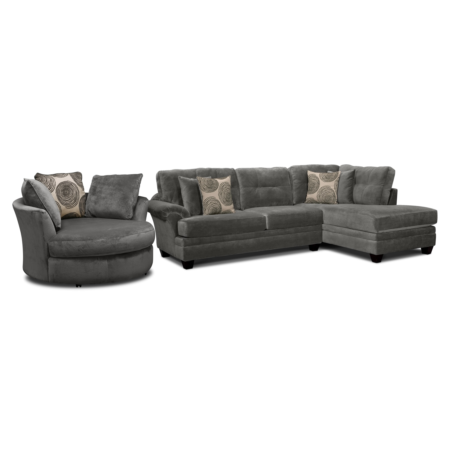 Cordoba gray ii upholstery 2 pc sectional and swivel for Sectional sofa swivel chair