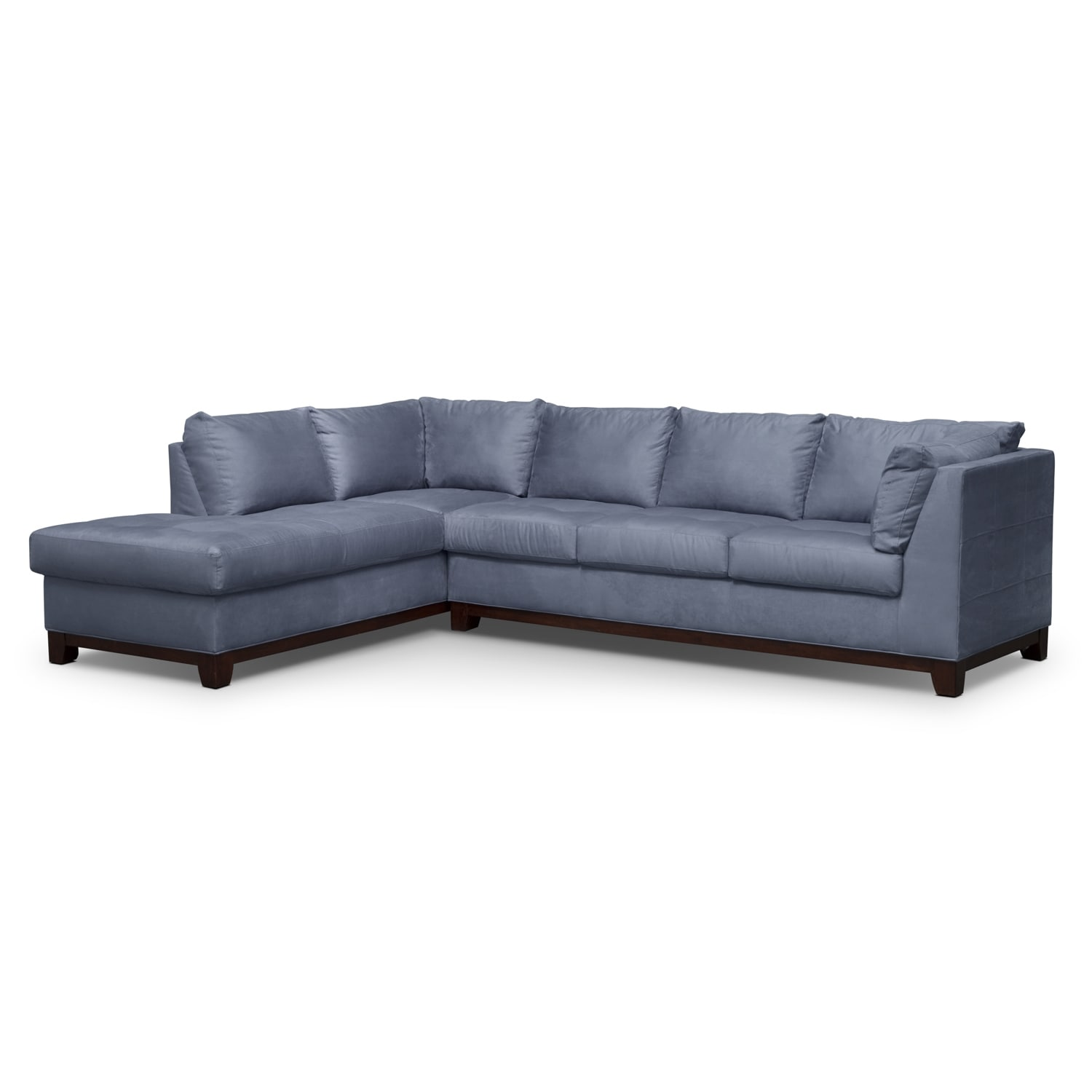 Soho 2 piece sectional with left facing chaise steel for Couch with 2 chaises