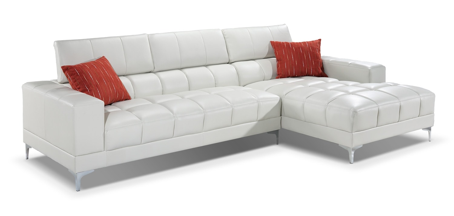 Living Room Furniture - Palermo 2-Piece Right-Facing Sectional - Off-White