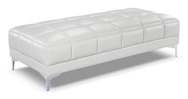 Living Room Furniture - Palermo Ottoman - Off-White