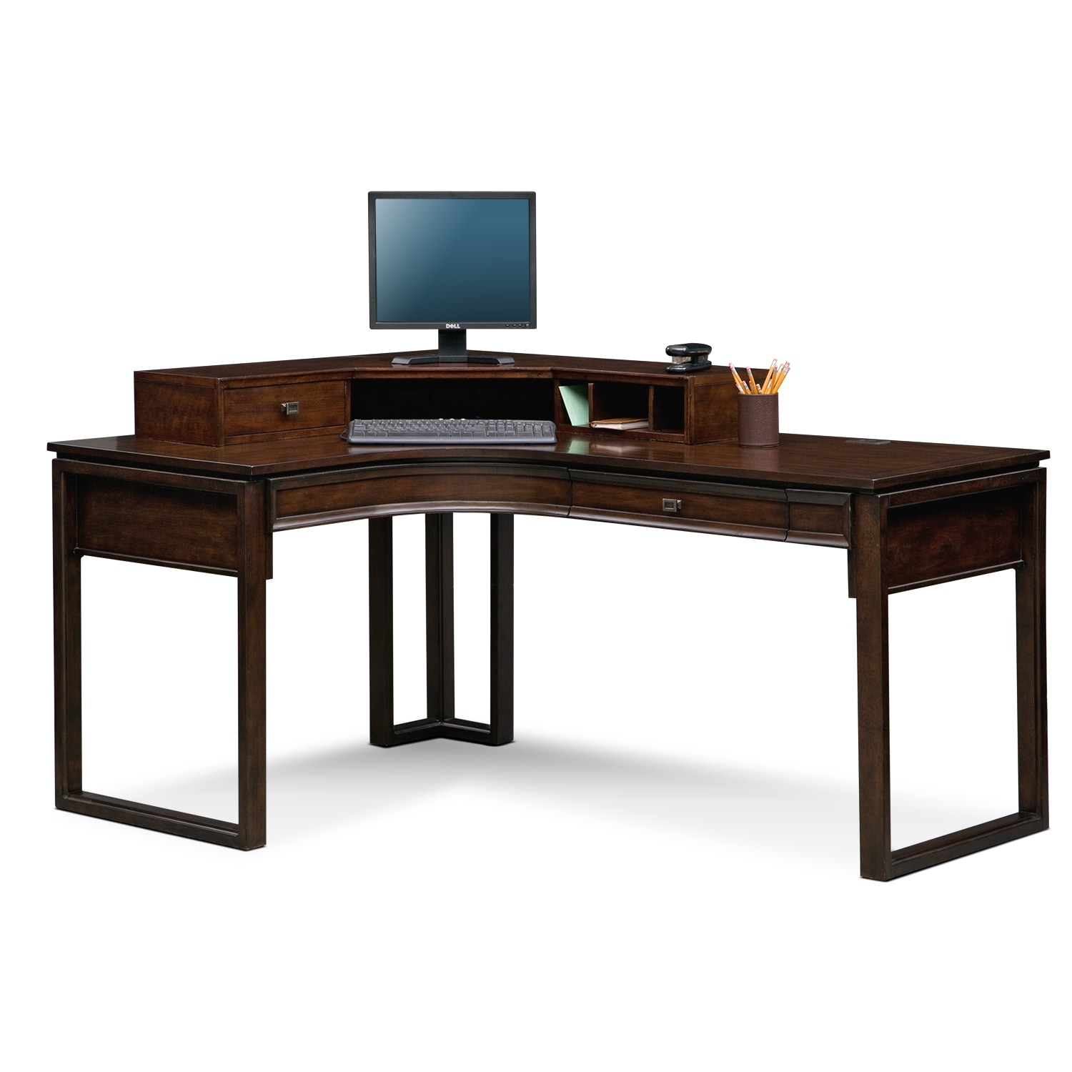 Superb img of Medina Home Office L Shaped Desk with Hutch Value City Furniture with #946737 color and 1500x1500 pixels